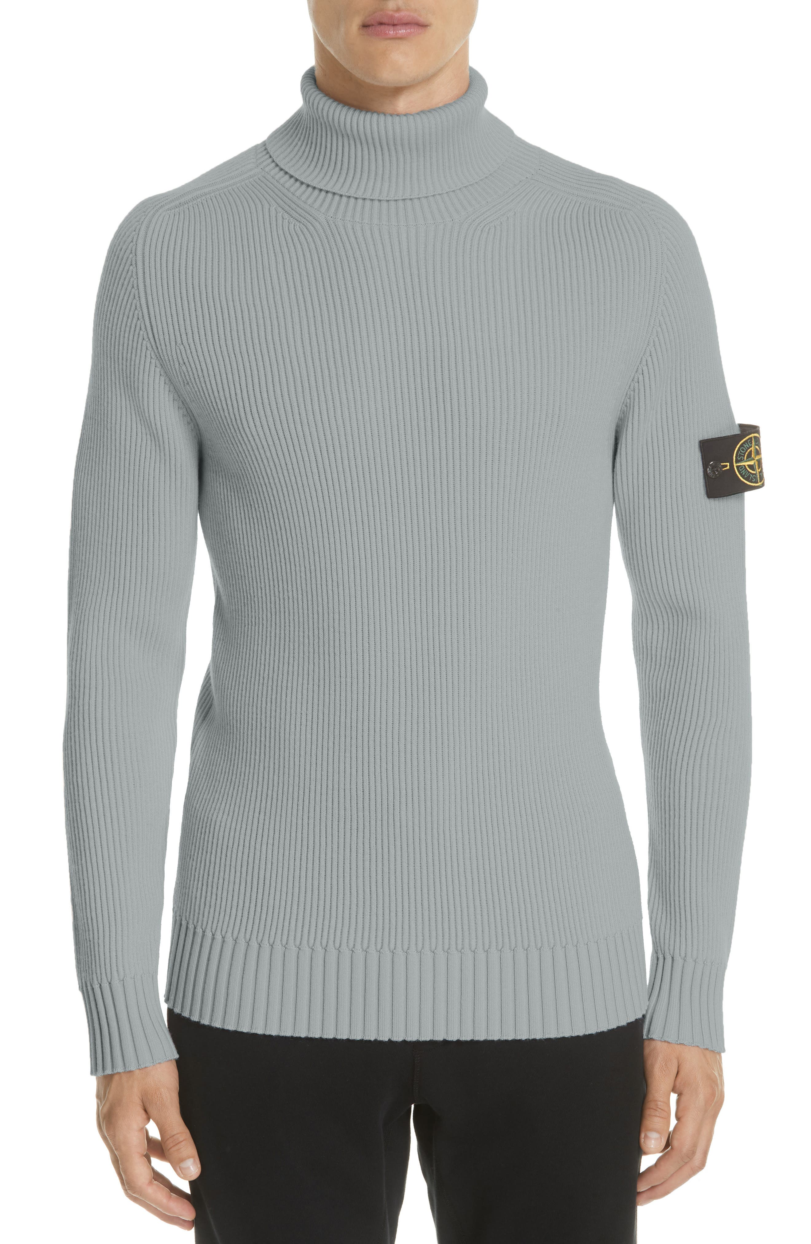 Ribbed Wool Turtleneck Sweater,                             Alternate thumbnail 4, color,                             GREY
