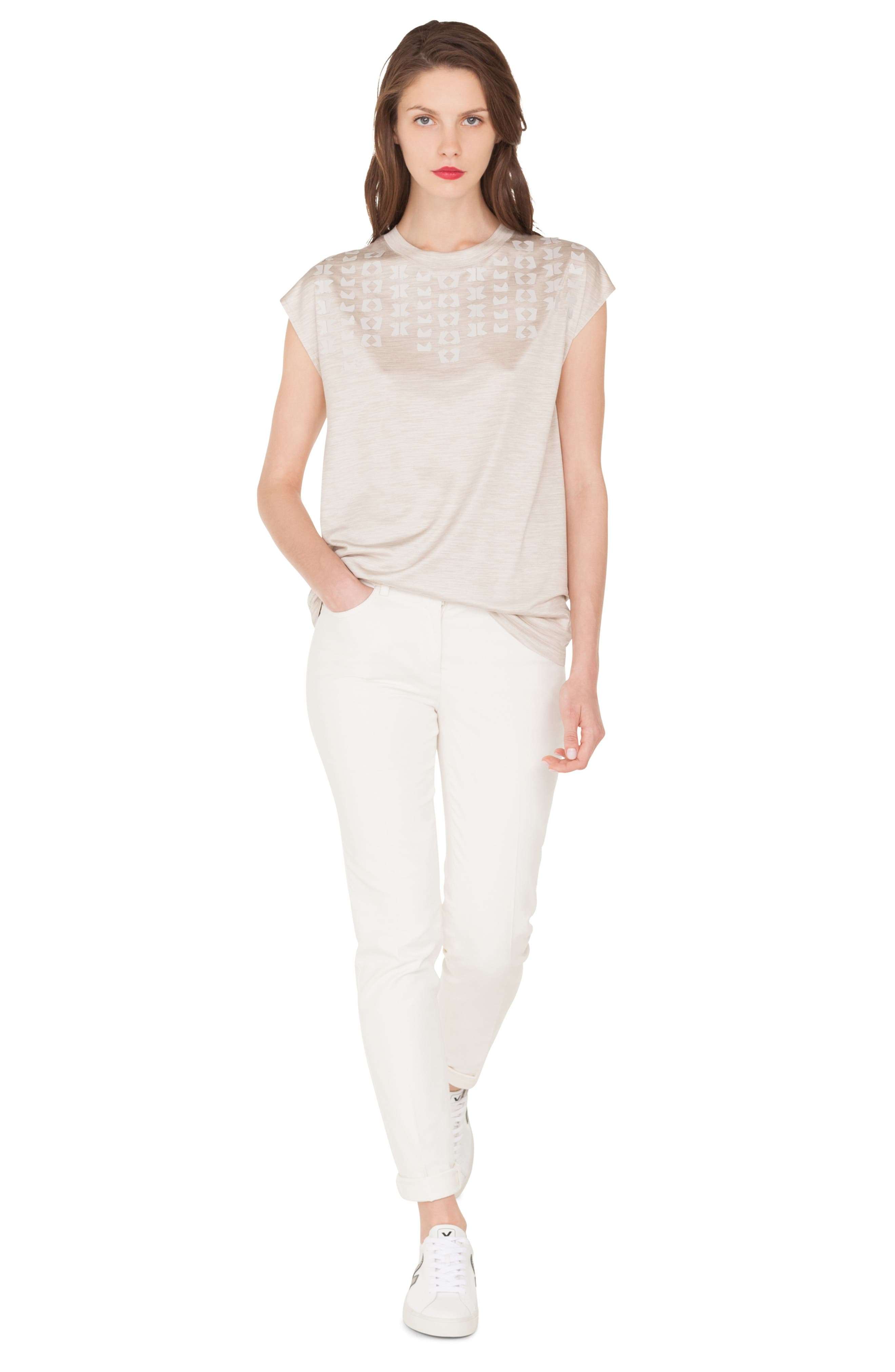 Embellished Silk Jersey Tee,                             Alternate thumbnail 4, color,                             CANVAS