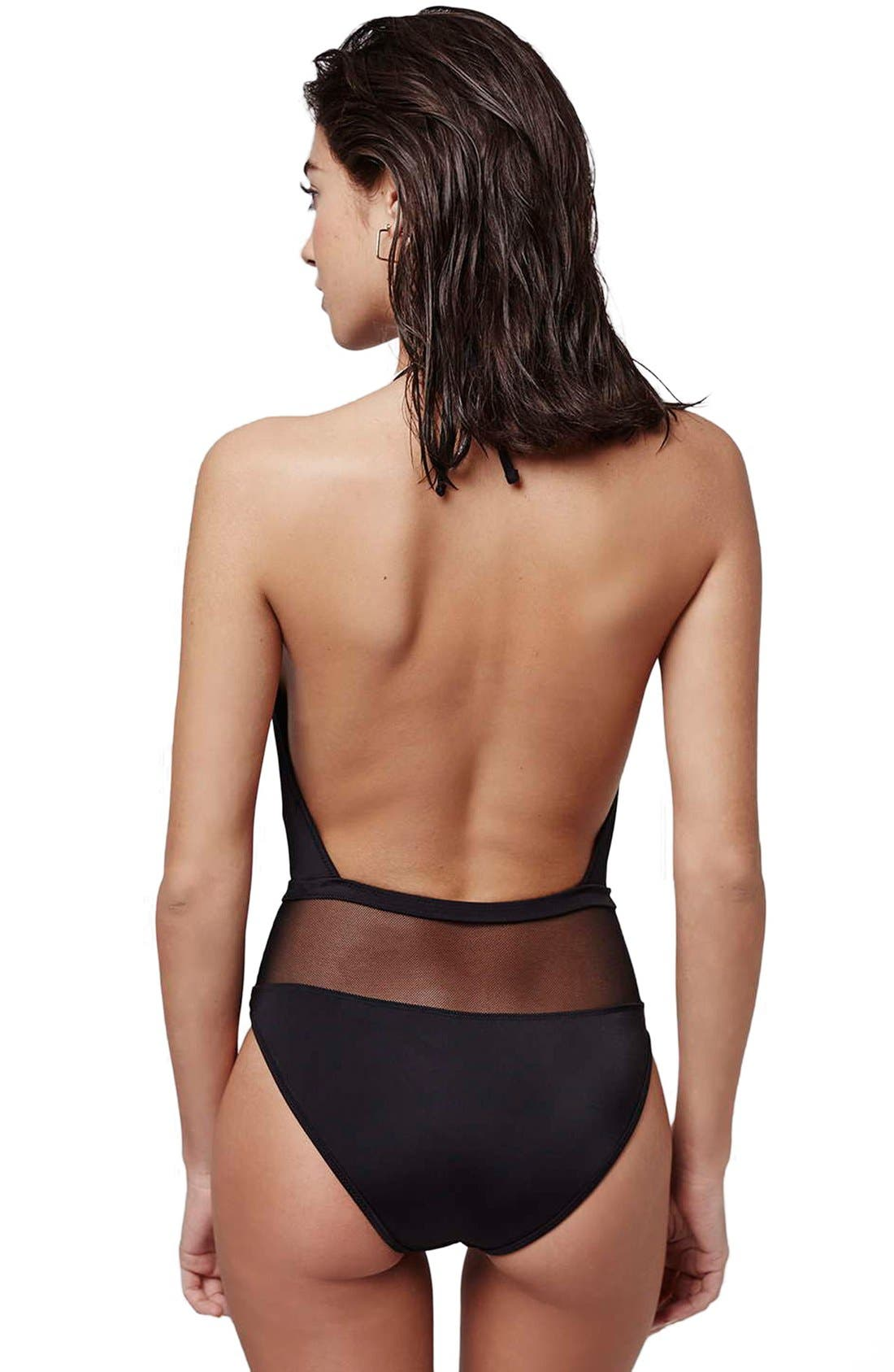 TOPSHOP,                             Plunging Halter Swimsuit with Sheer Mesh Panel,                             Alternate thumbnail 5, color,                             001