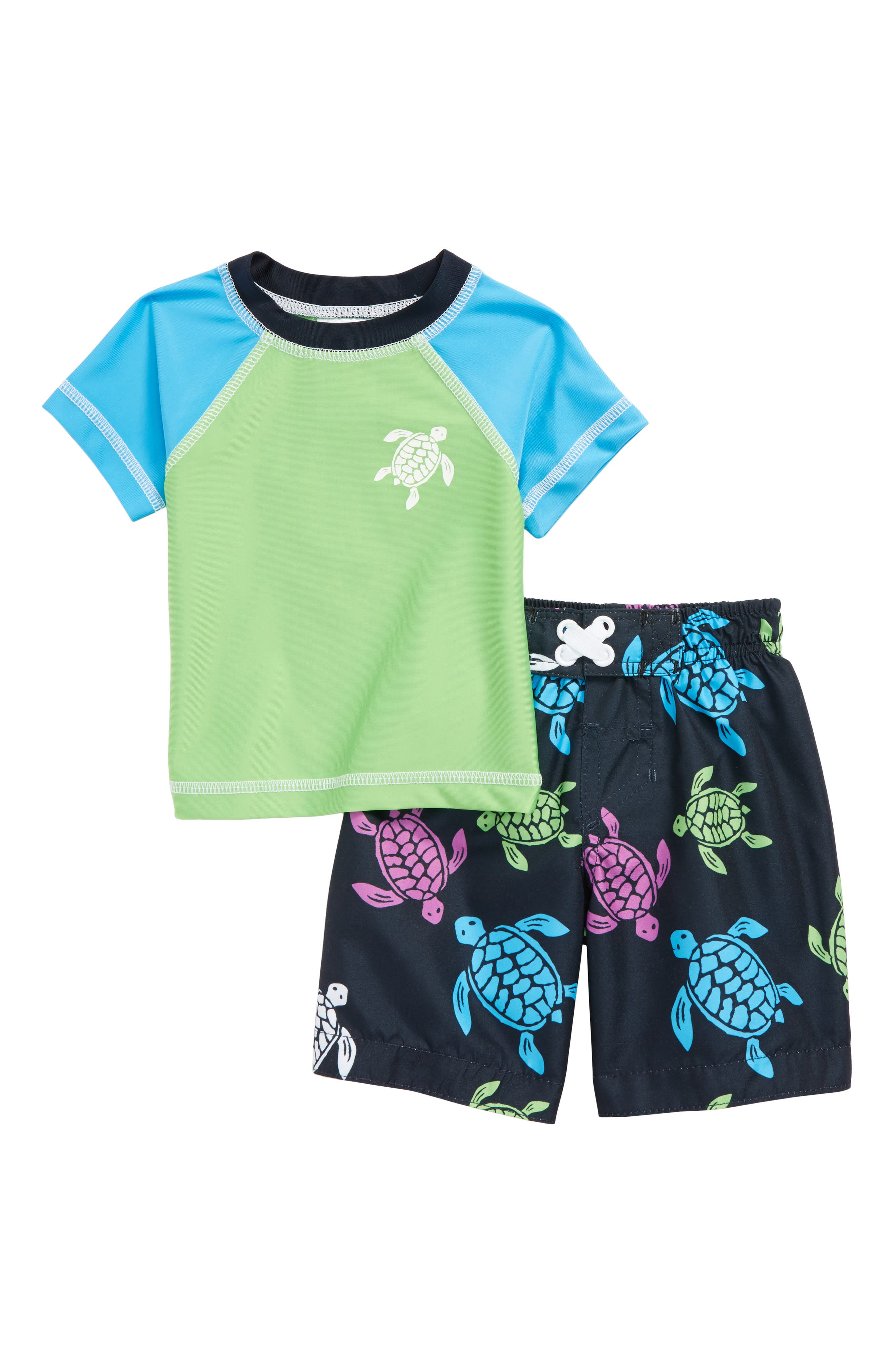 Turtle Two-Piece Rashguard Swimsuit,                             Main thumbnail 1, color,                             399