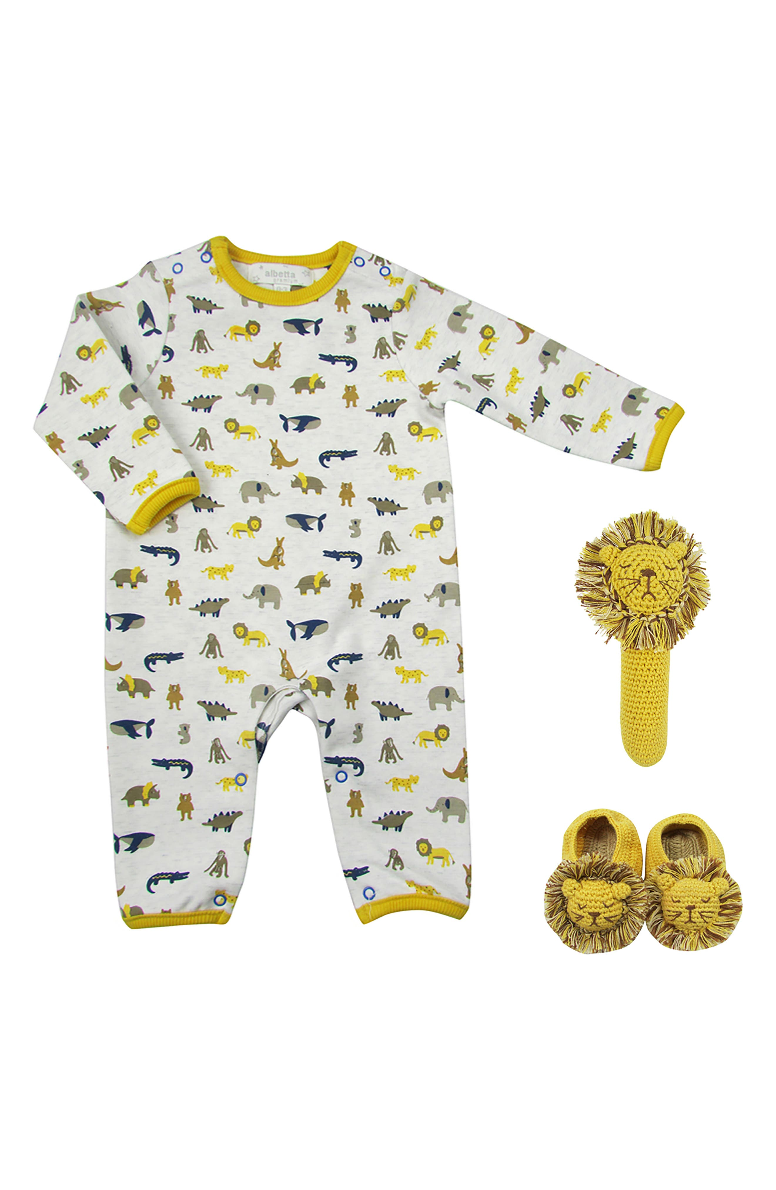 Infant Boys Albetta Animal Parade Romper Crochet Rattle  Booties Set