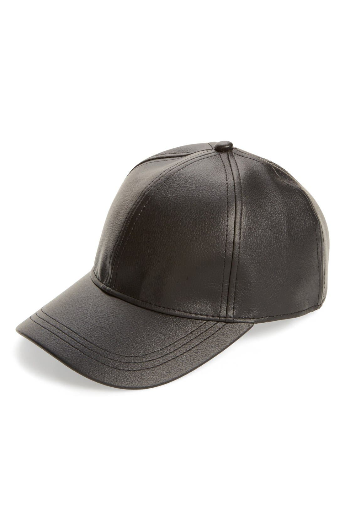 Faux Leather Baseball Cap,                         Main,                         color,