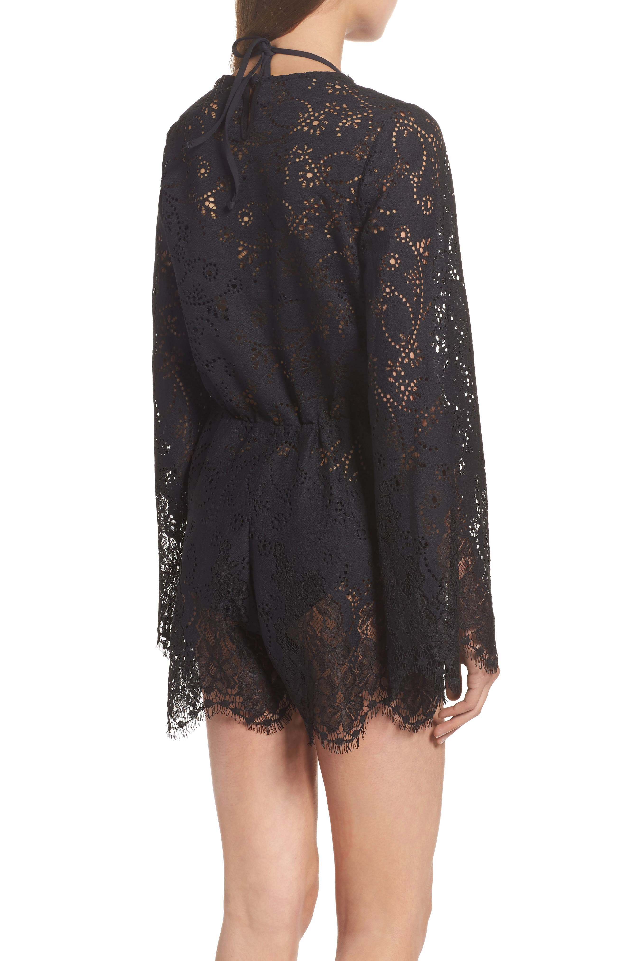 Olympia Lace Cover-Up Romper,                             Alternate thumbnail 2, color,                             001