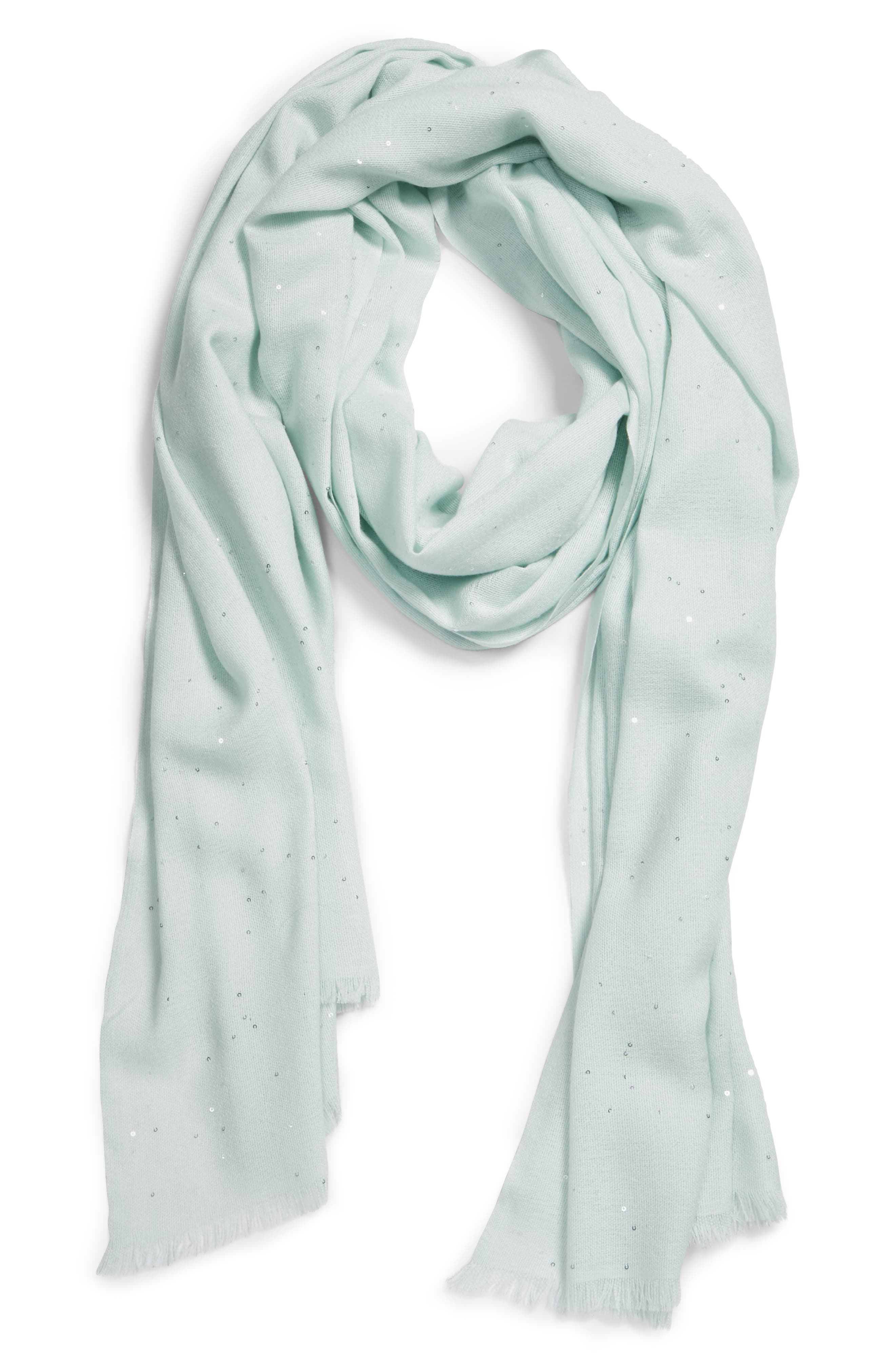 Sequin Silk & Wool Wrap,                             Alternate thumbnail 4, color,                             PALE MINT