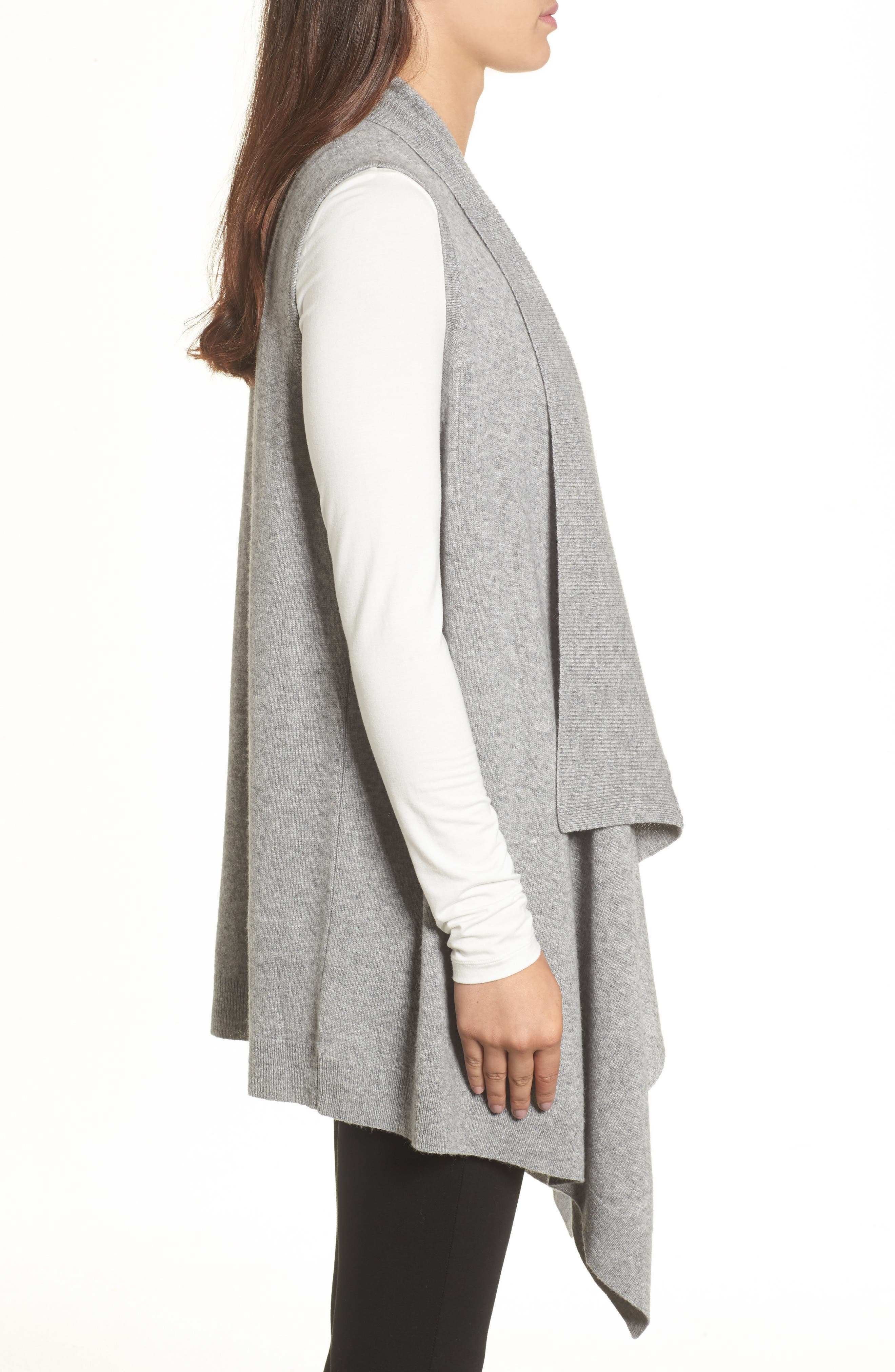 Wool & Cashmere Drape Front Sweater Vest,                             Alternate thumbnail 17, color,