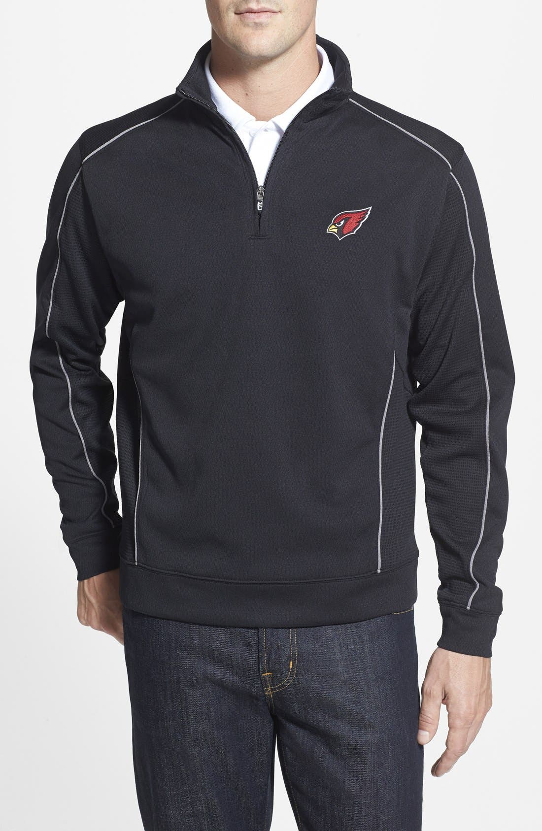 CUTTER & BUCK,                             Arizona Cardinals - Edge DryTec Moisture Wicking Half Zip Pullover,                             Main thumbnail 1, color,                             001