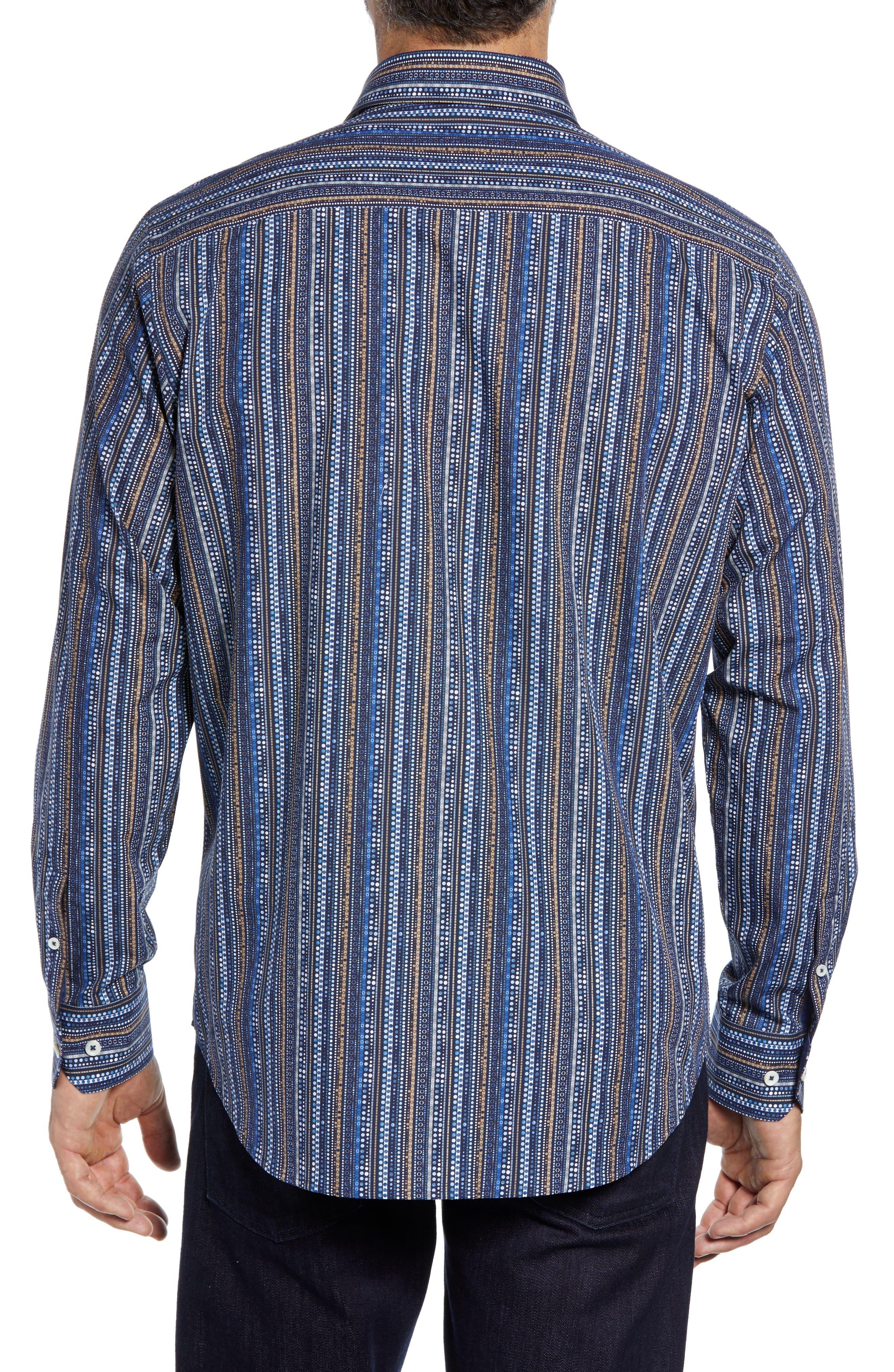 Classic Fit Print Stripe Sport Shirt,                             Alternate thumbnail 3, color,                             NAVY
