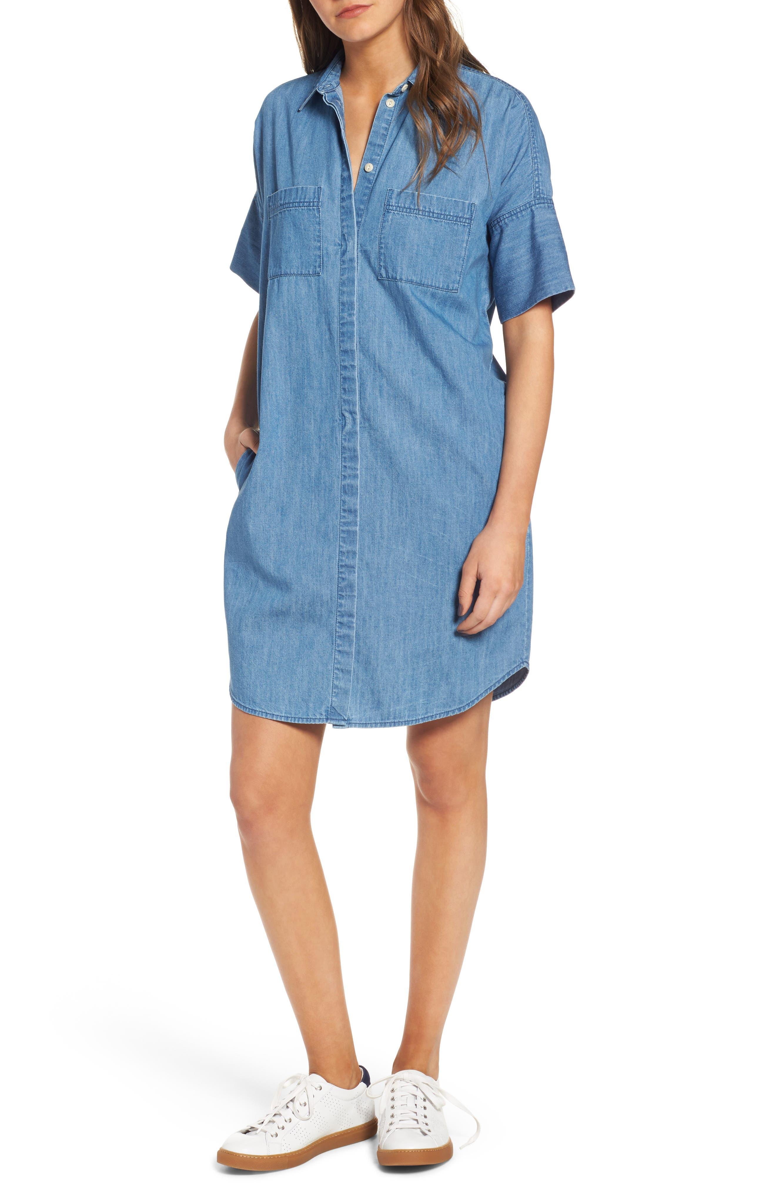 Courier Denim Shirtdress, Main, color, 409