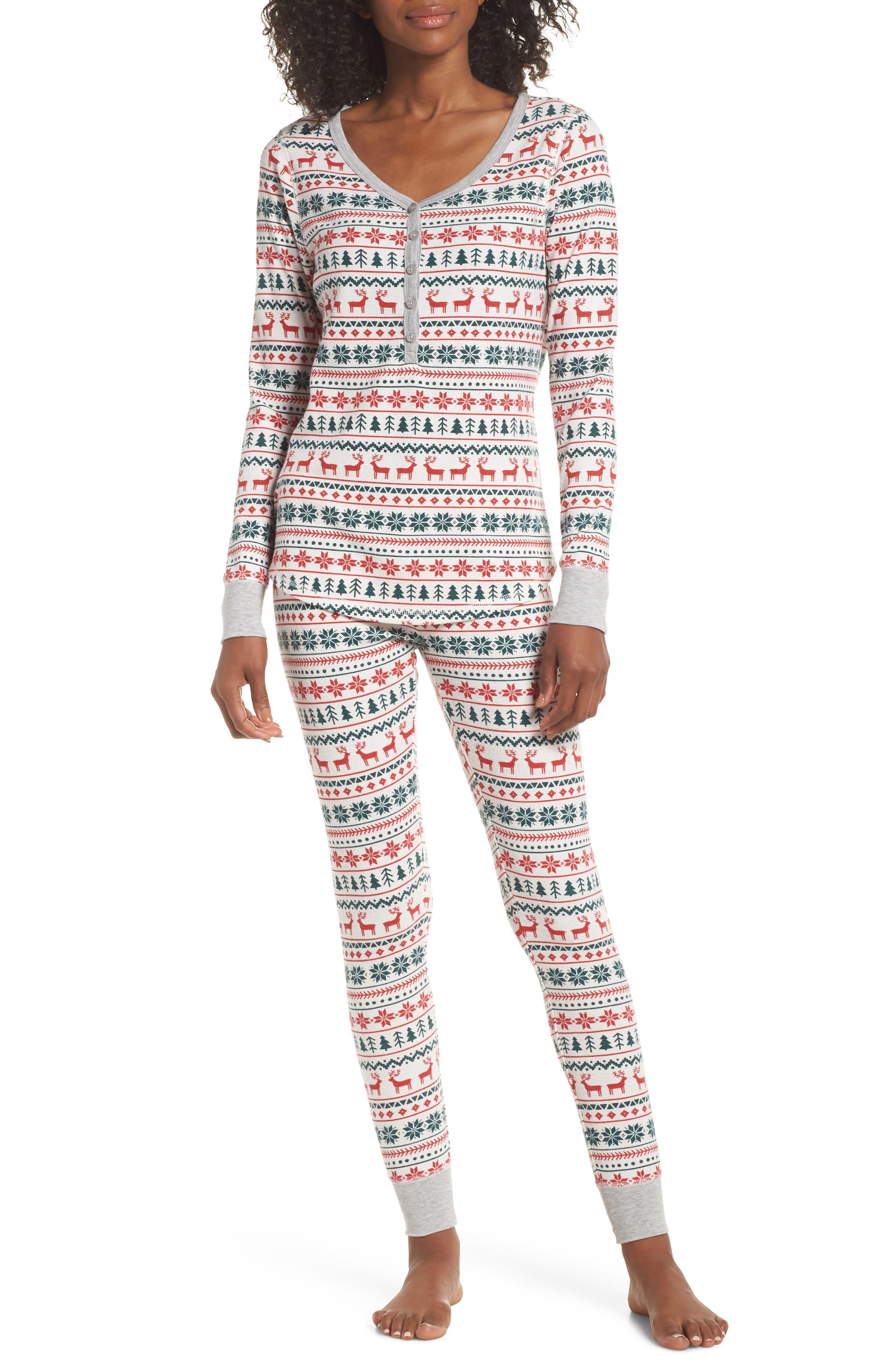 Nordstrom Lingerie Sleepyhead Thermal Pajamas, Ivory