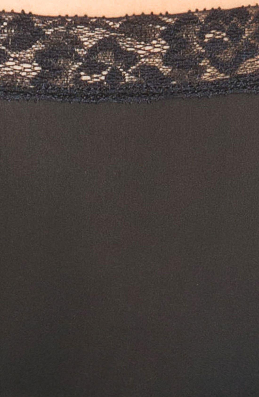 'Bodysuede' Lace Waist Briefs,                             Alternate thumbnail 3, color,                             BLACK