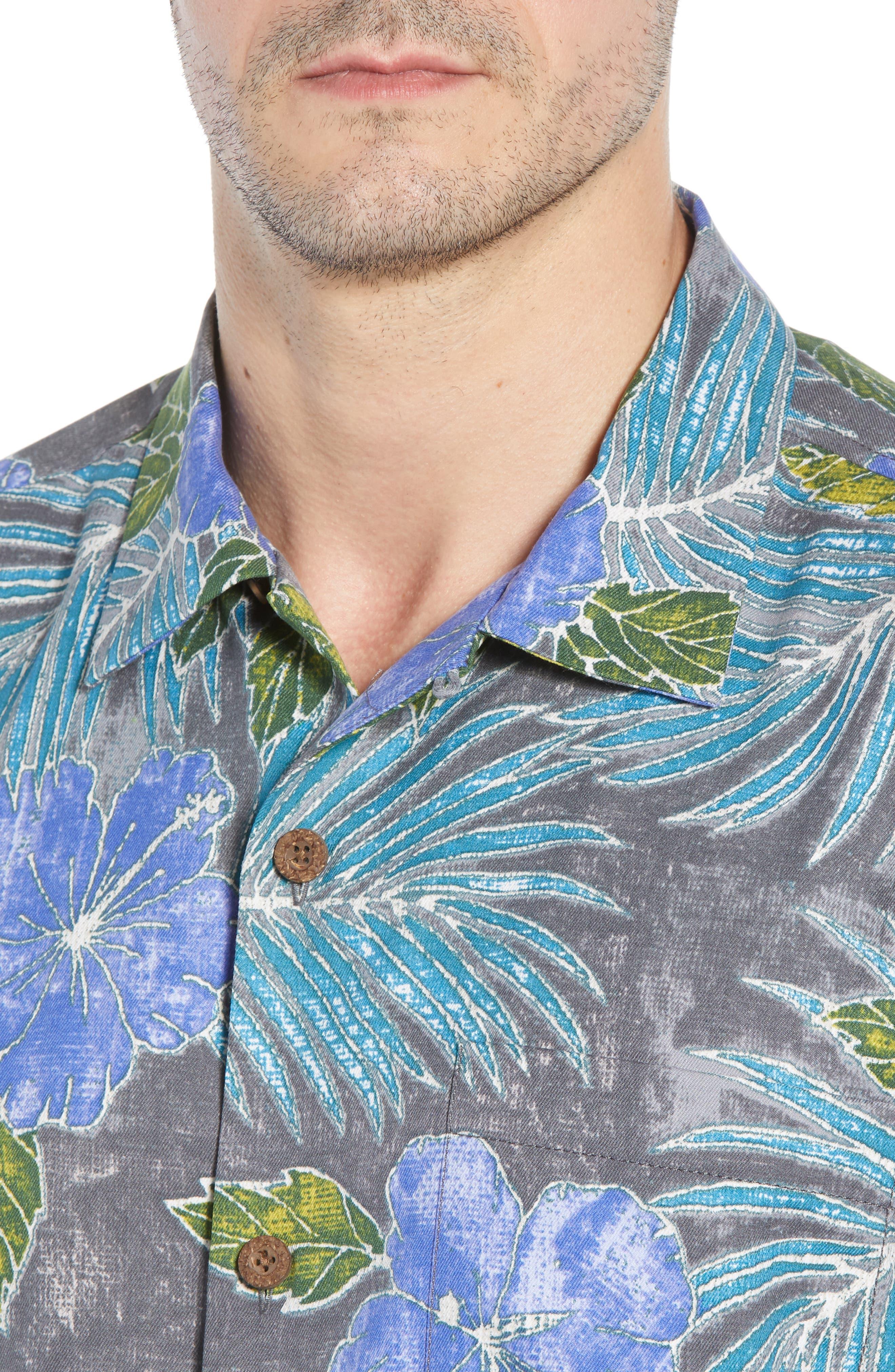 Hibiscus Cove Short Sleeve Silk Blend Sport Shirt,                             Alternate thumbnail 2, color,                             ONYX