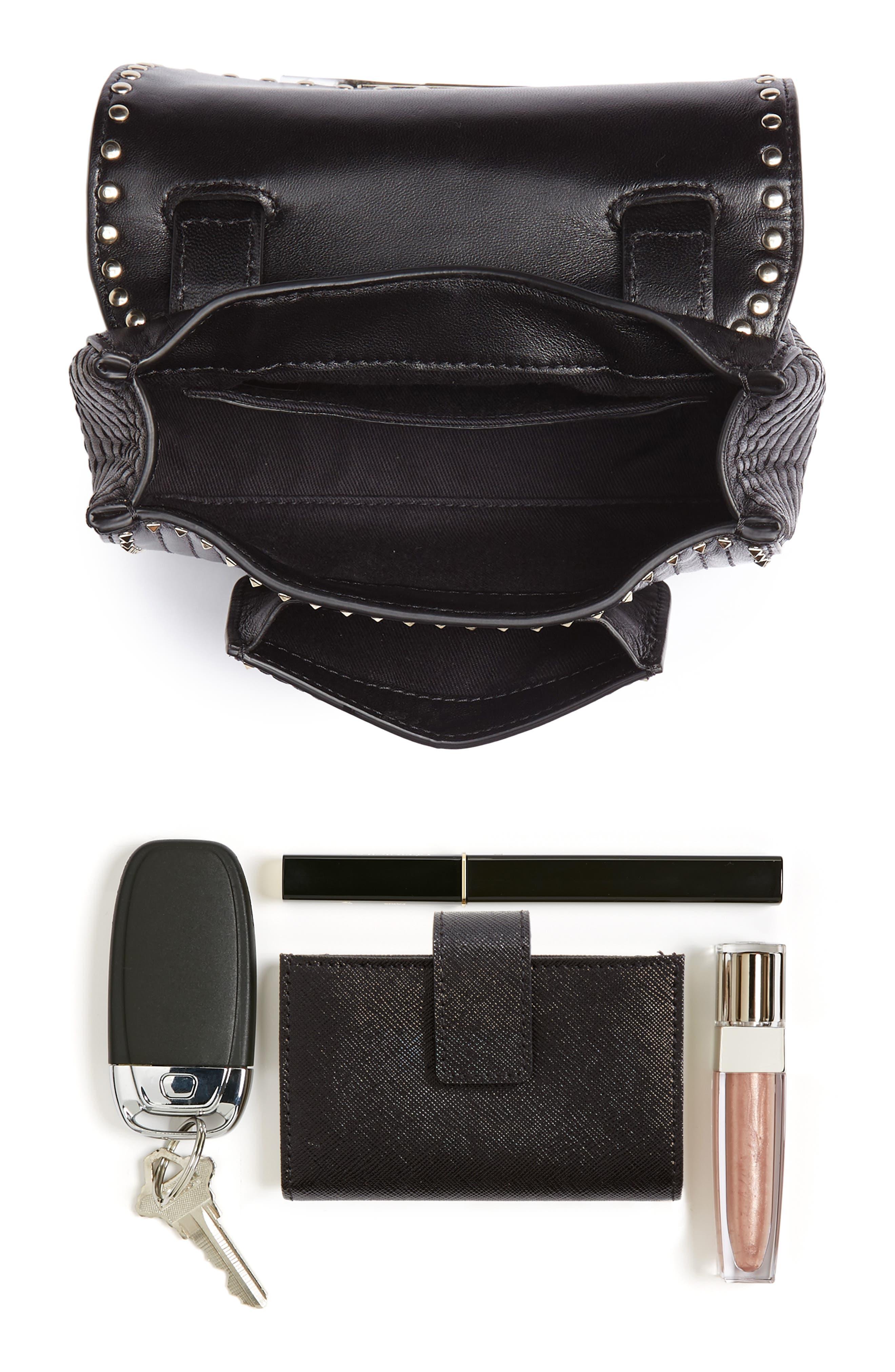 Mini Ziggystud Leather Convertible Crossbody/Belt Bag,                             Alternate thumbnail 9, color,                             001