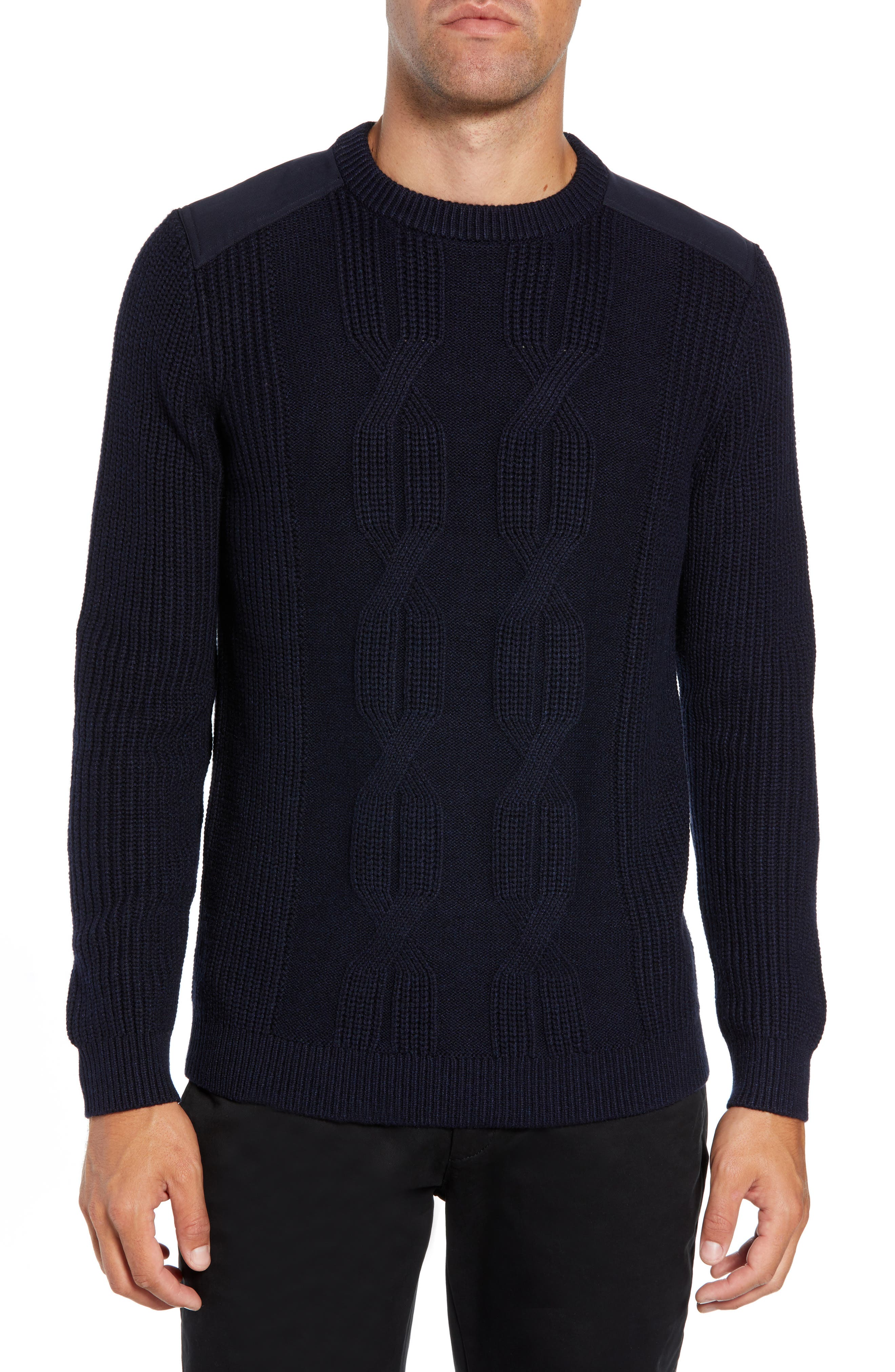 Laichi Trim Fit Cable Crewneck Sweater,                             Main thumbnail 1, color,                             NAVY