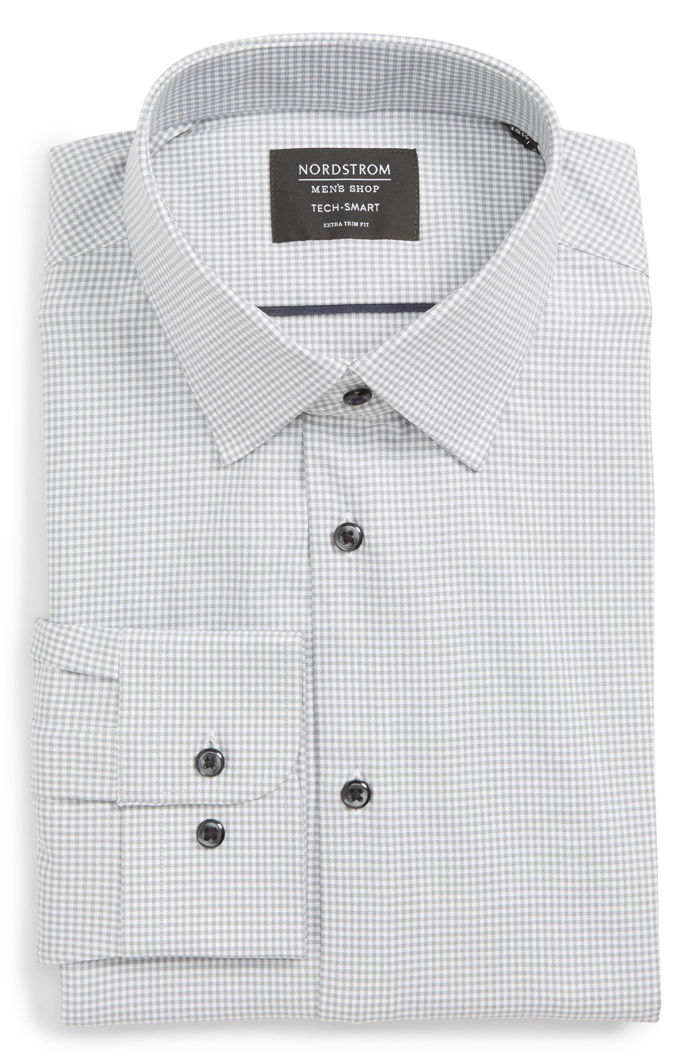 Tech-Smart Extra Trim Fit Stretch Check Dress Shirt,                         Main,                         color, GREY SLEET