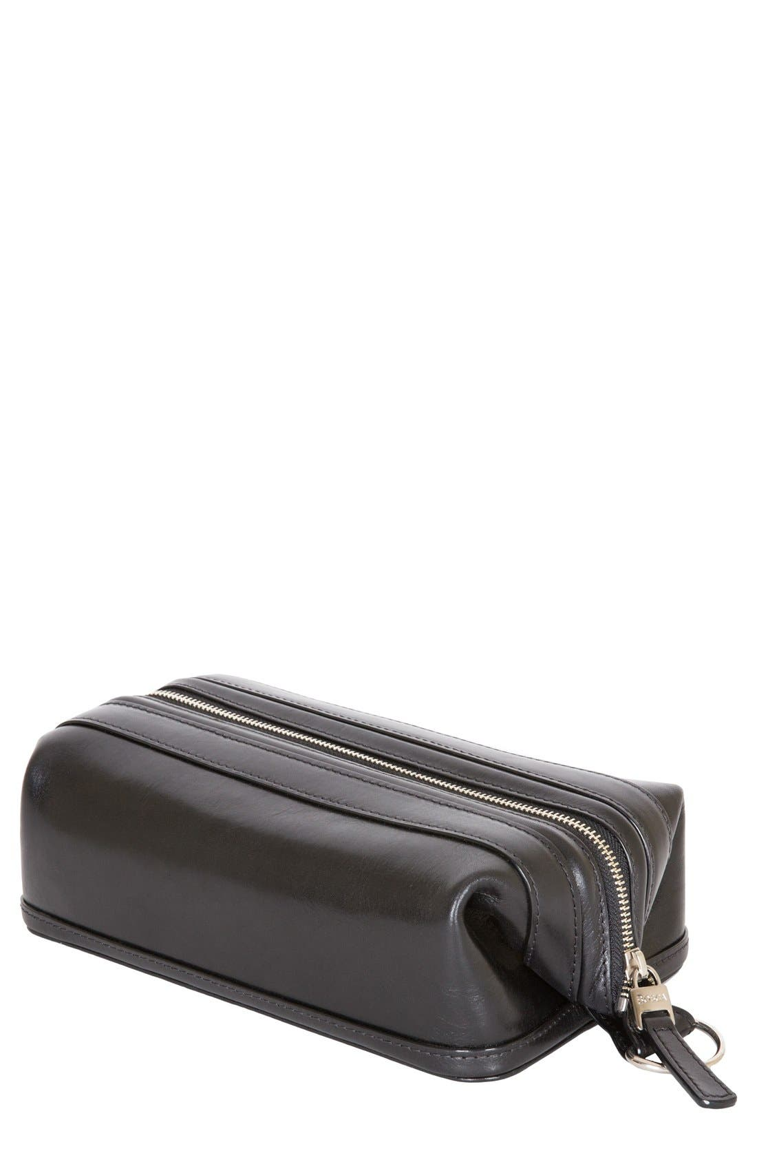 Leather Dopp Kit,                         Main,                         color, BLACK
