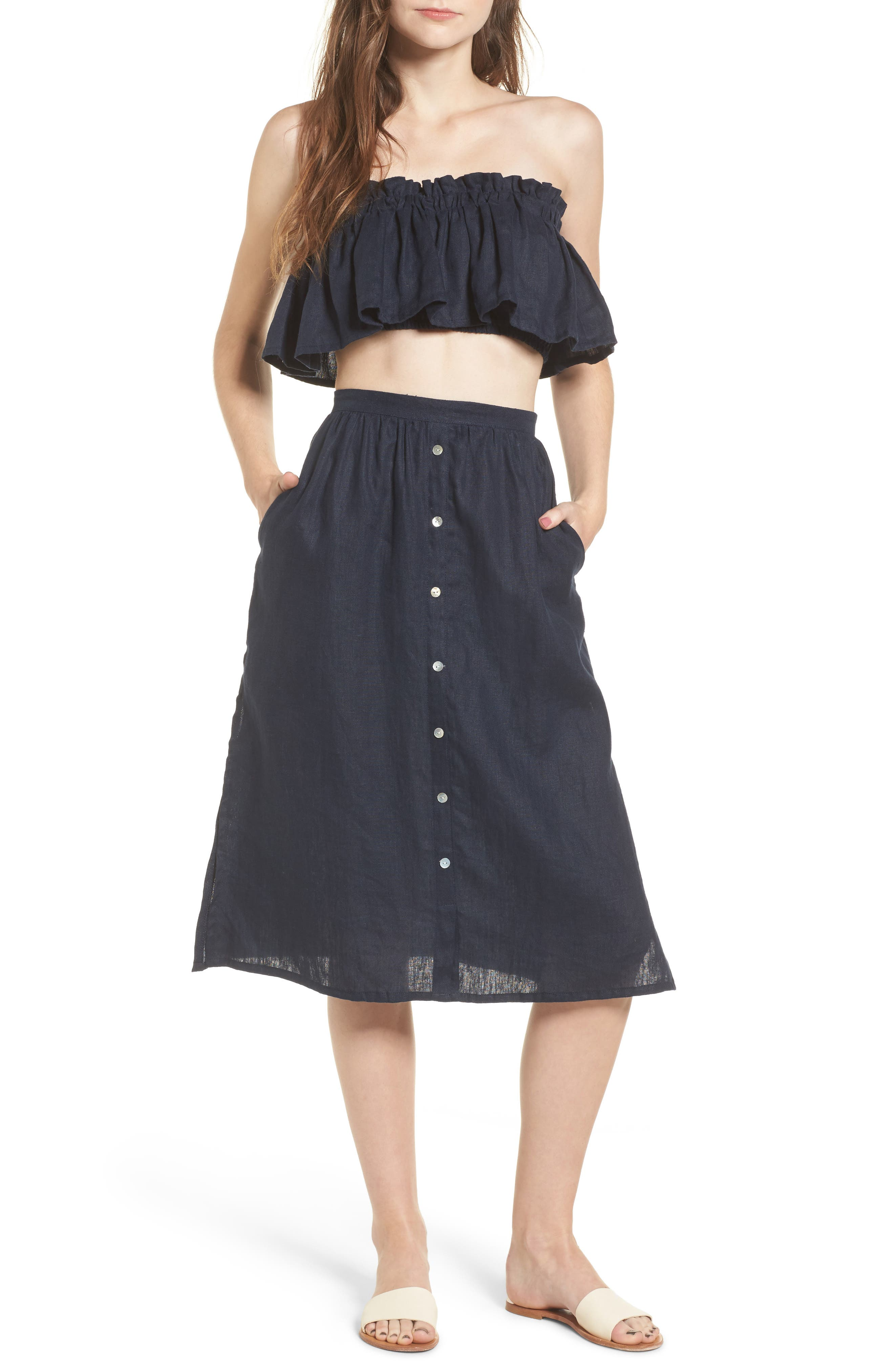Seine Linen Midi Skirt,                             Alternate thumbnail 7, color,                             400