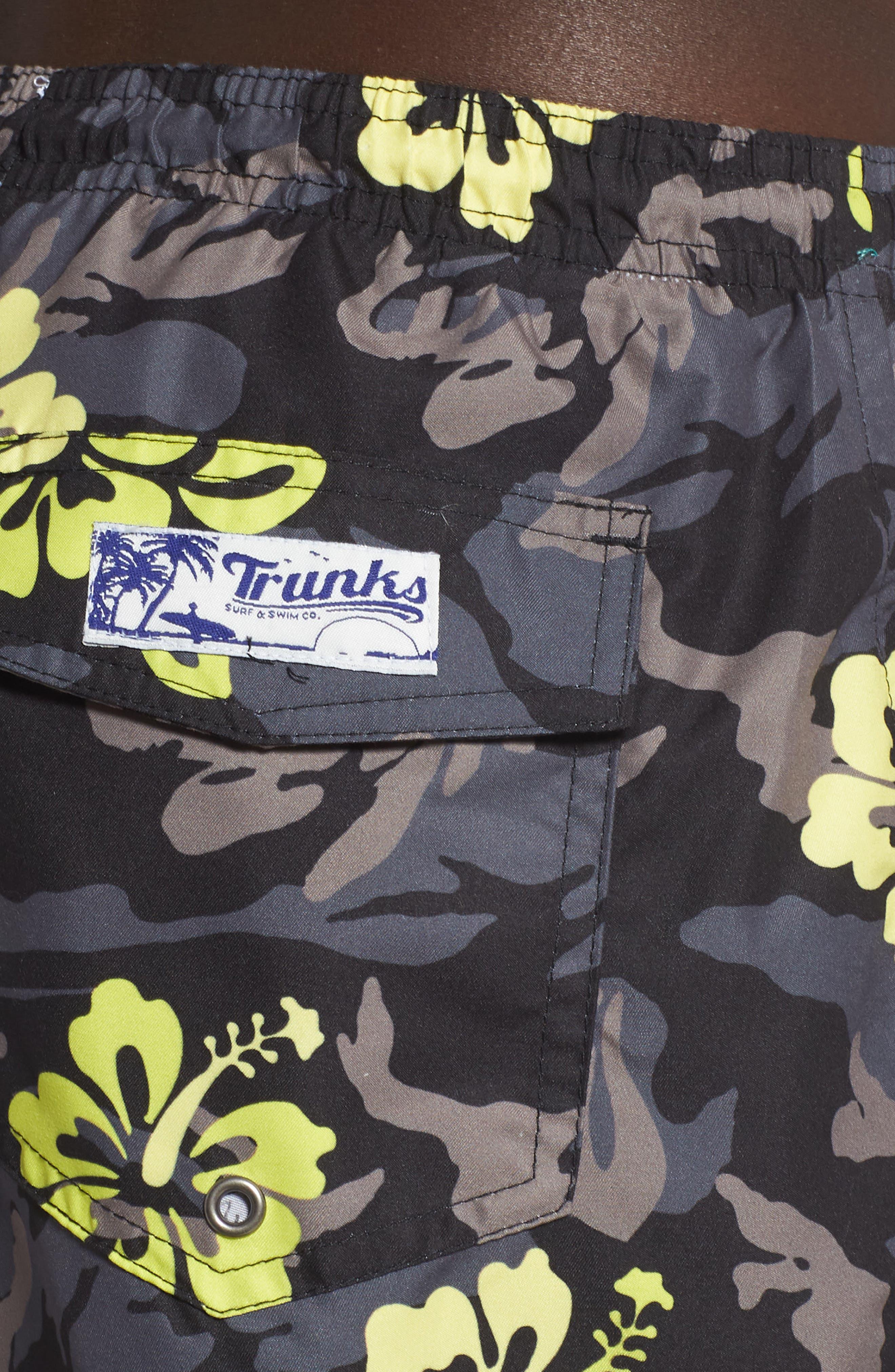 TRUNKS SURF & SWIM CO.,                             Sano Hibiscus Print Swim Trunks,                             Alternate thumbnail 4, color,                             BLACK