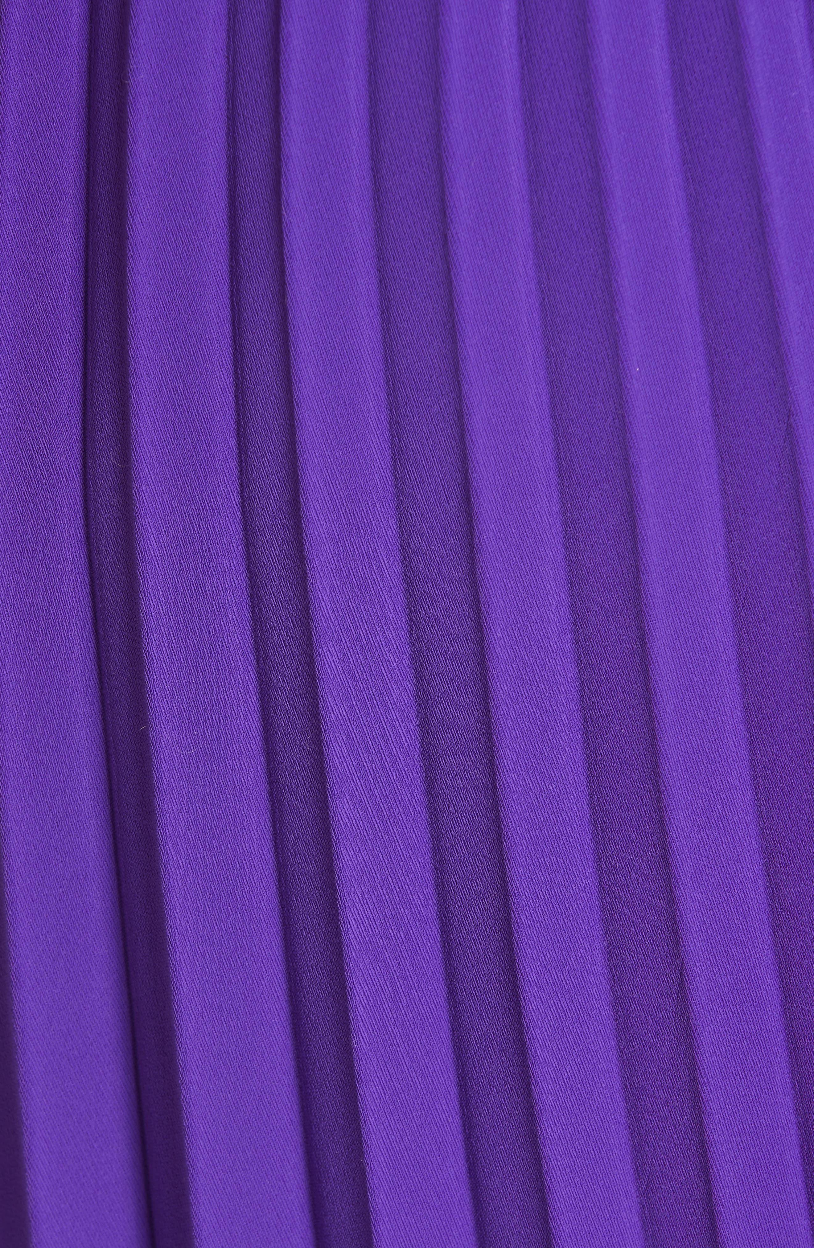 Fancy Asymmetrical Pleated Crepe Skirt,                             Alternate thumbnail 5, color,                             ULTRAVIOLET