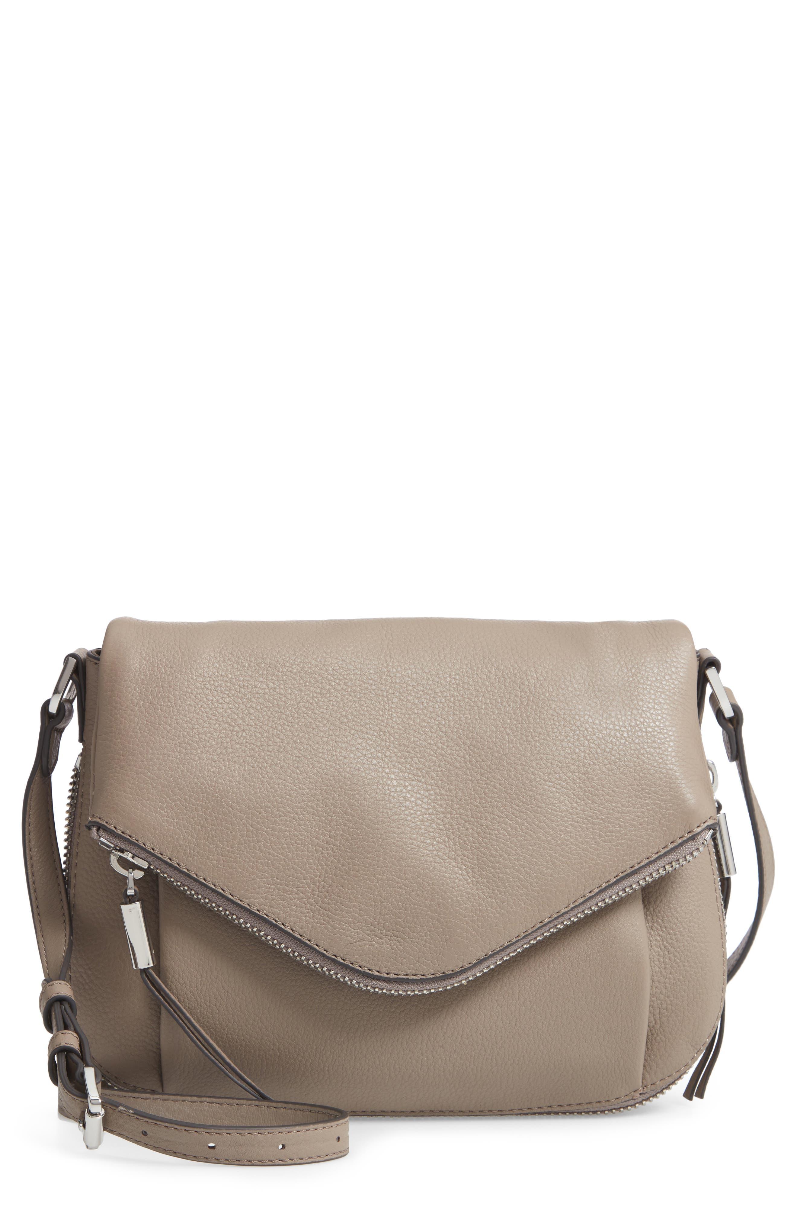 Key Leather Crossbody Bag - Grey in Tranquility