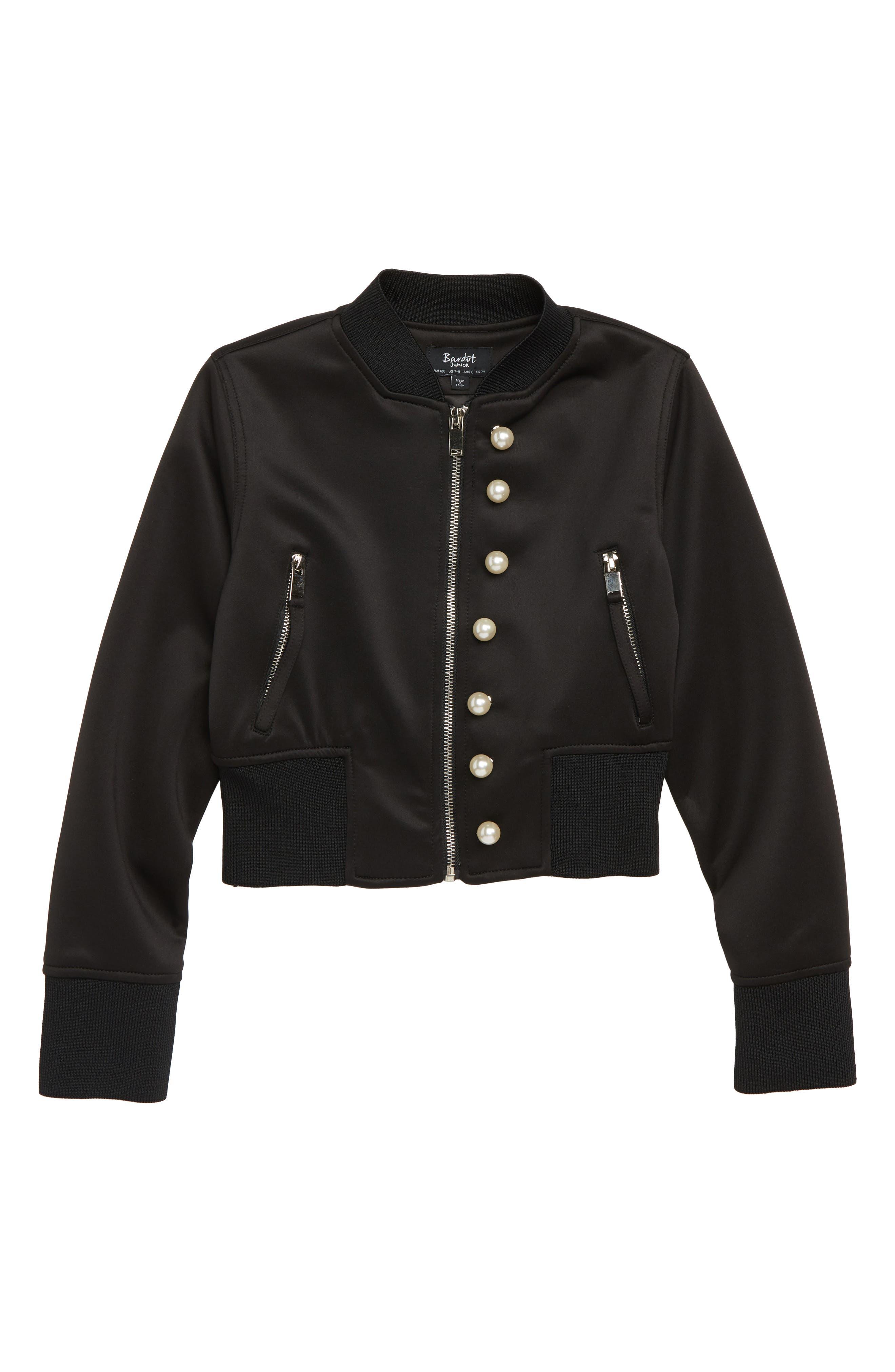 Adalyn Imitation Pearl Bomber Jacket,                         Main,                         color, 001