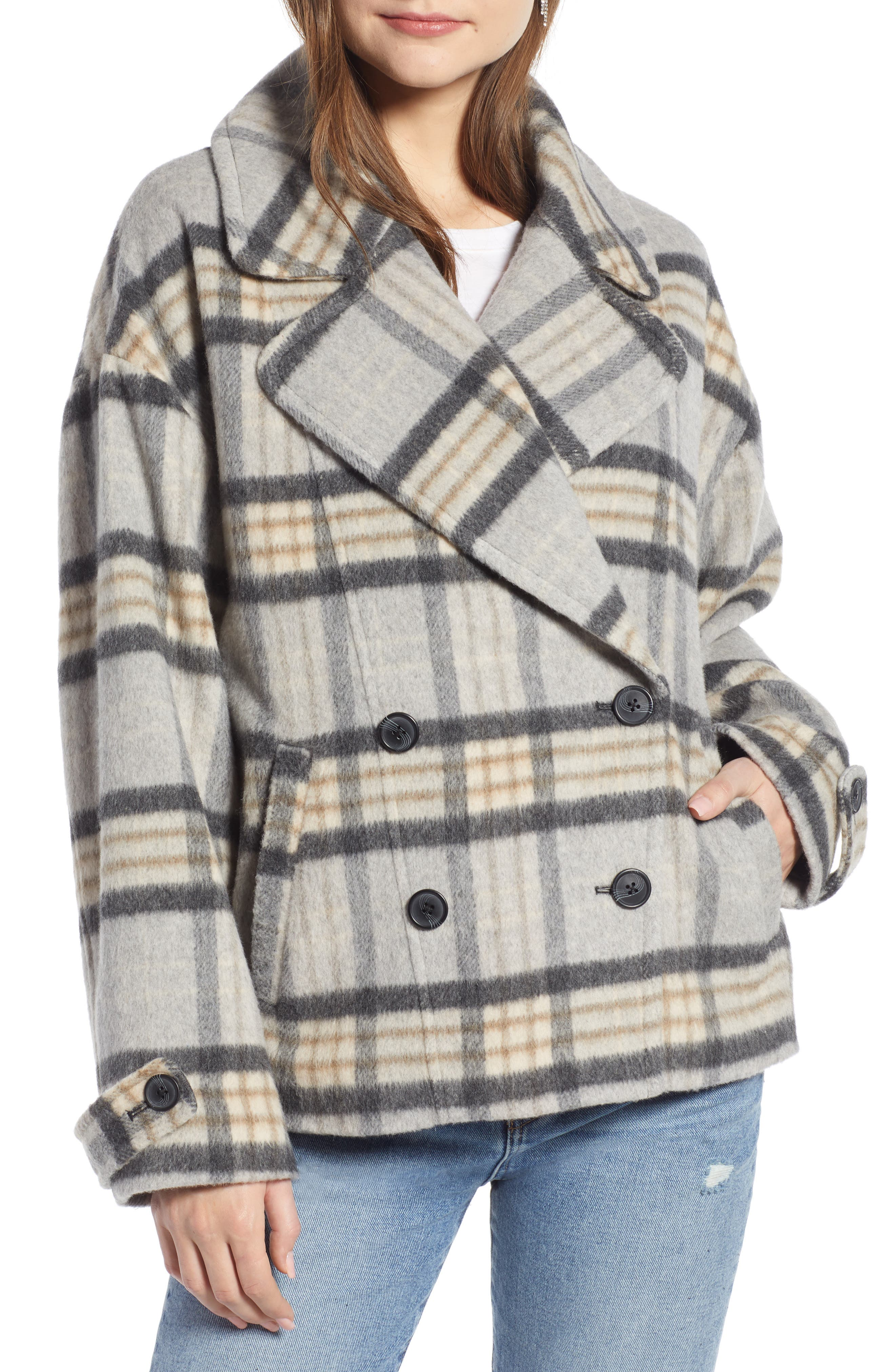 SOMETHING NAVY,                             Double Breasted Crop Jacket,                             Alternate thumbnail 5, color,                             GREY LIGHT HEATHER PLAID