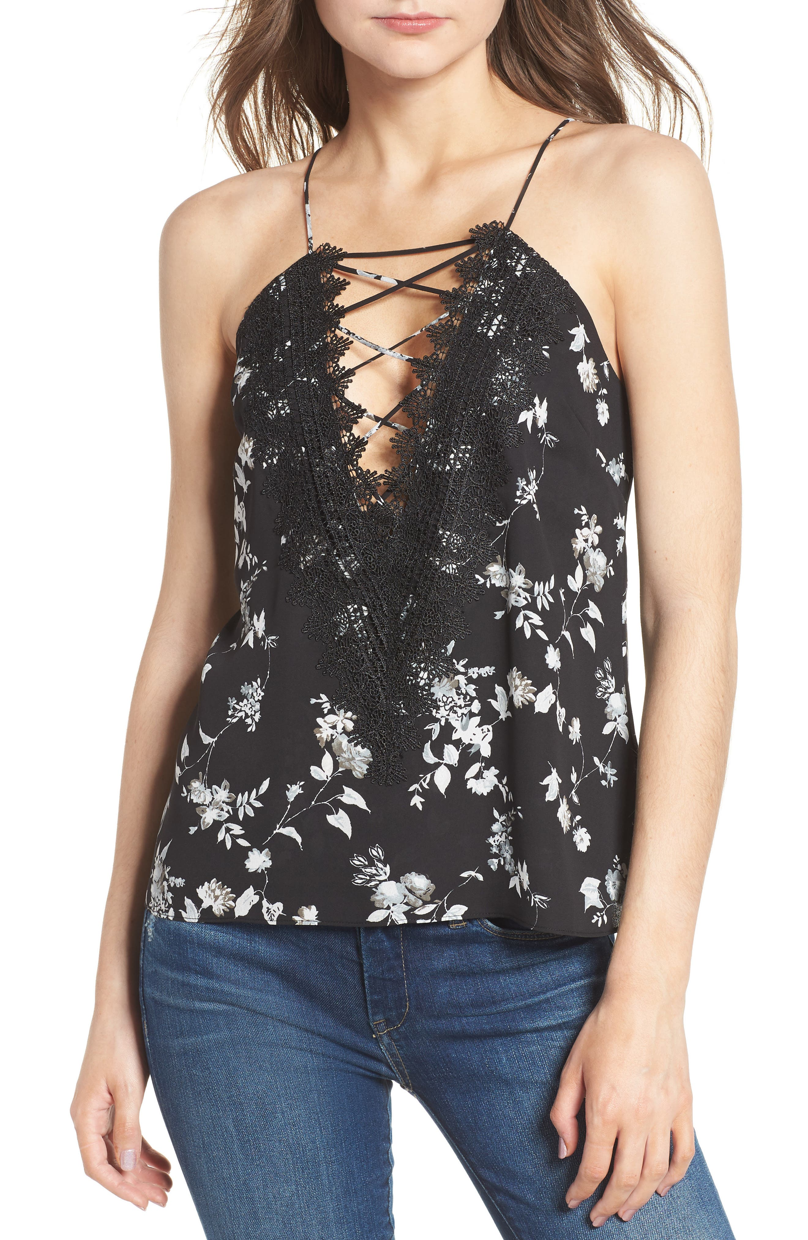 Posie Strappy Camisole,                             Main thumbnail 1, color,                             BLACK FLORAL
