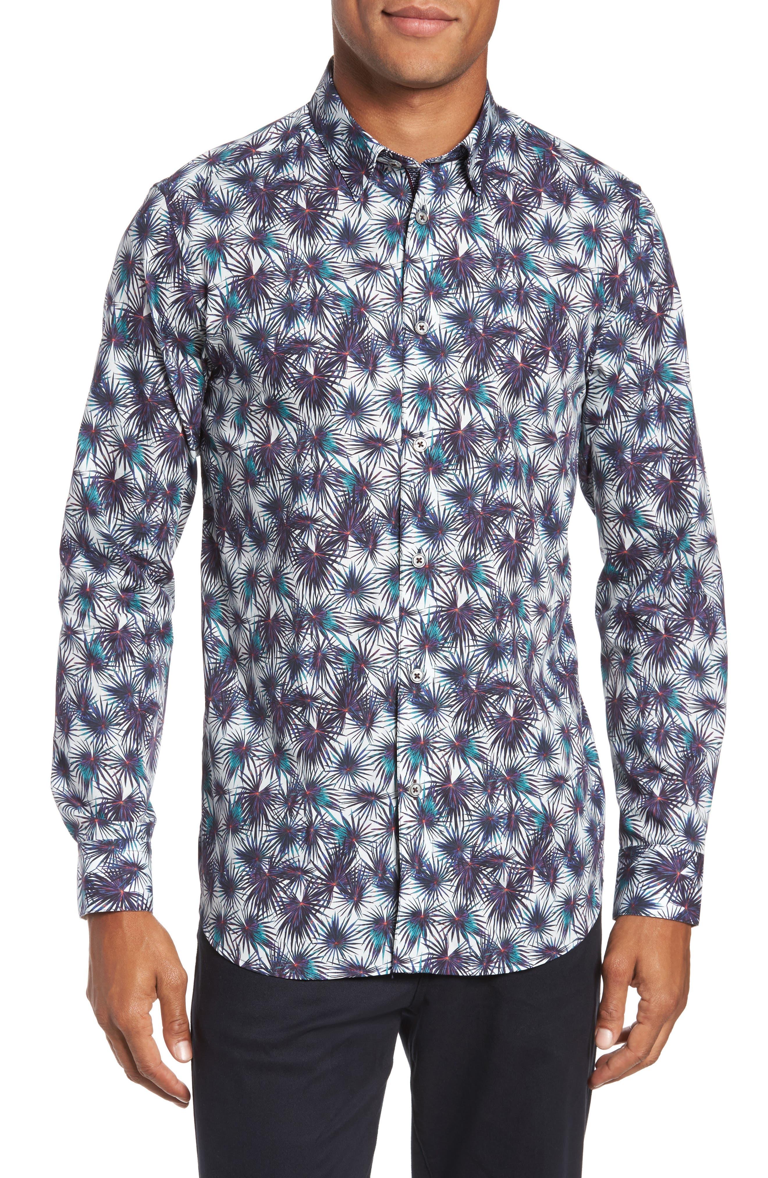 Modern Slim Fit Palm Print Sport Shirt,                             Main thumbnail 1, color,                             110