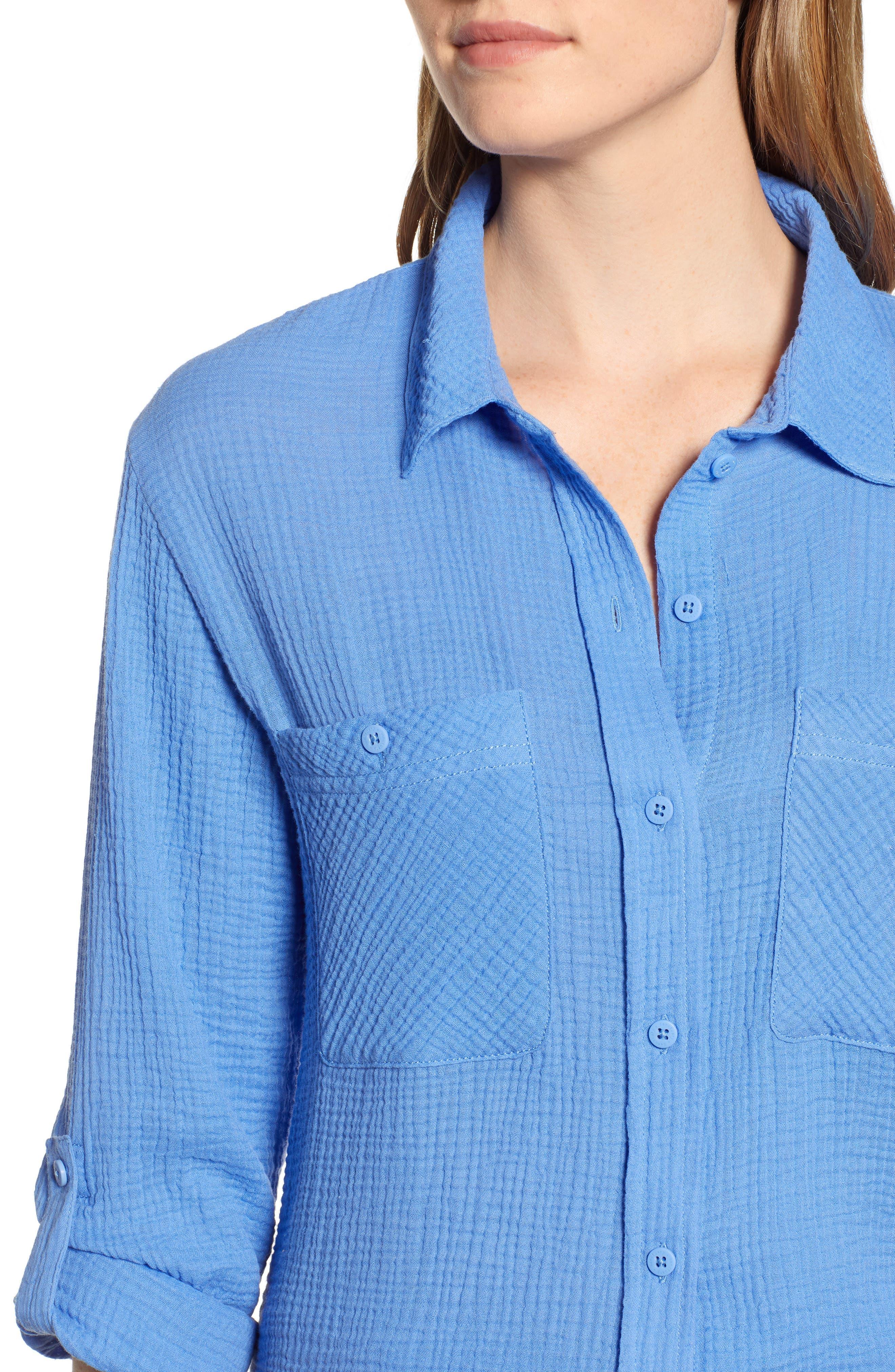 Steady Boyfriend Roll Tab Shirt,                             Alternate thumbnail 4, color,                             IRIS
