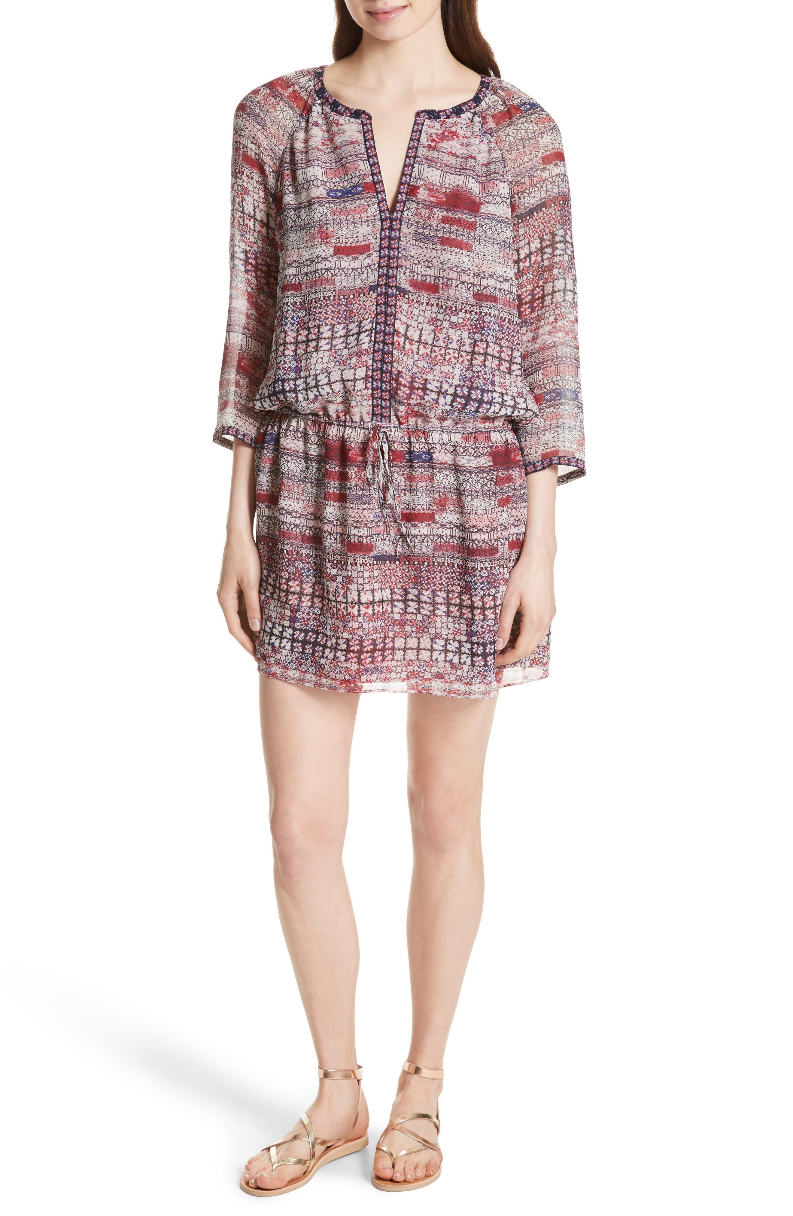 Aili Silk Minidress,                         Main,                         color, 645