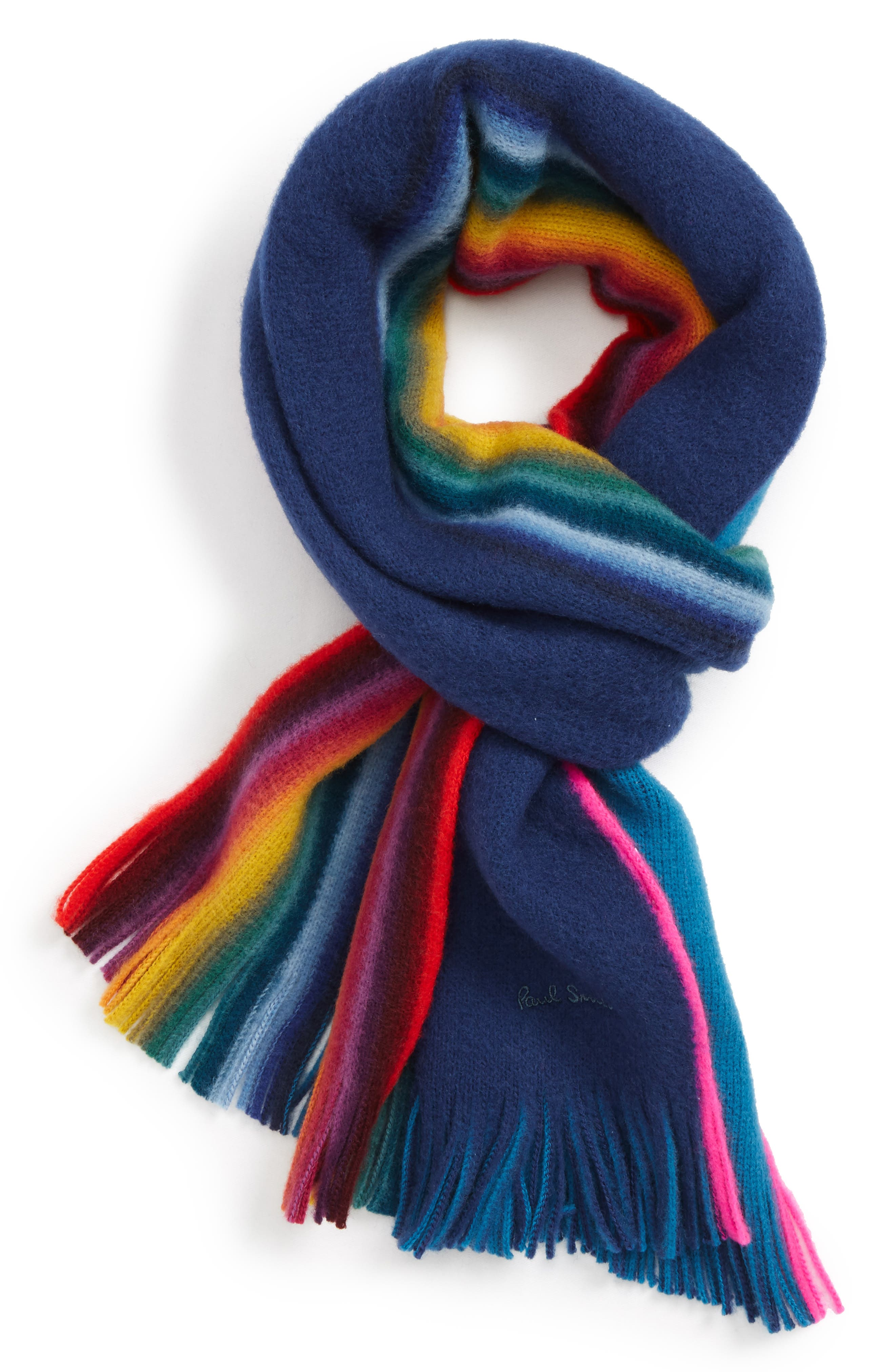 Rainbow Edge Wool Scarf,                             Main thumbnail 4, color,