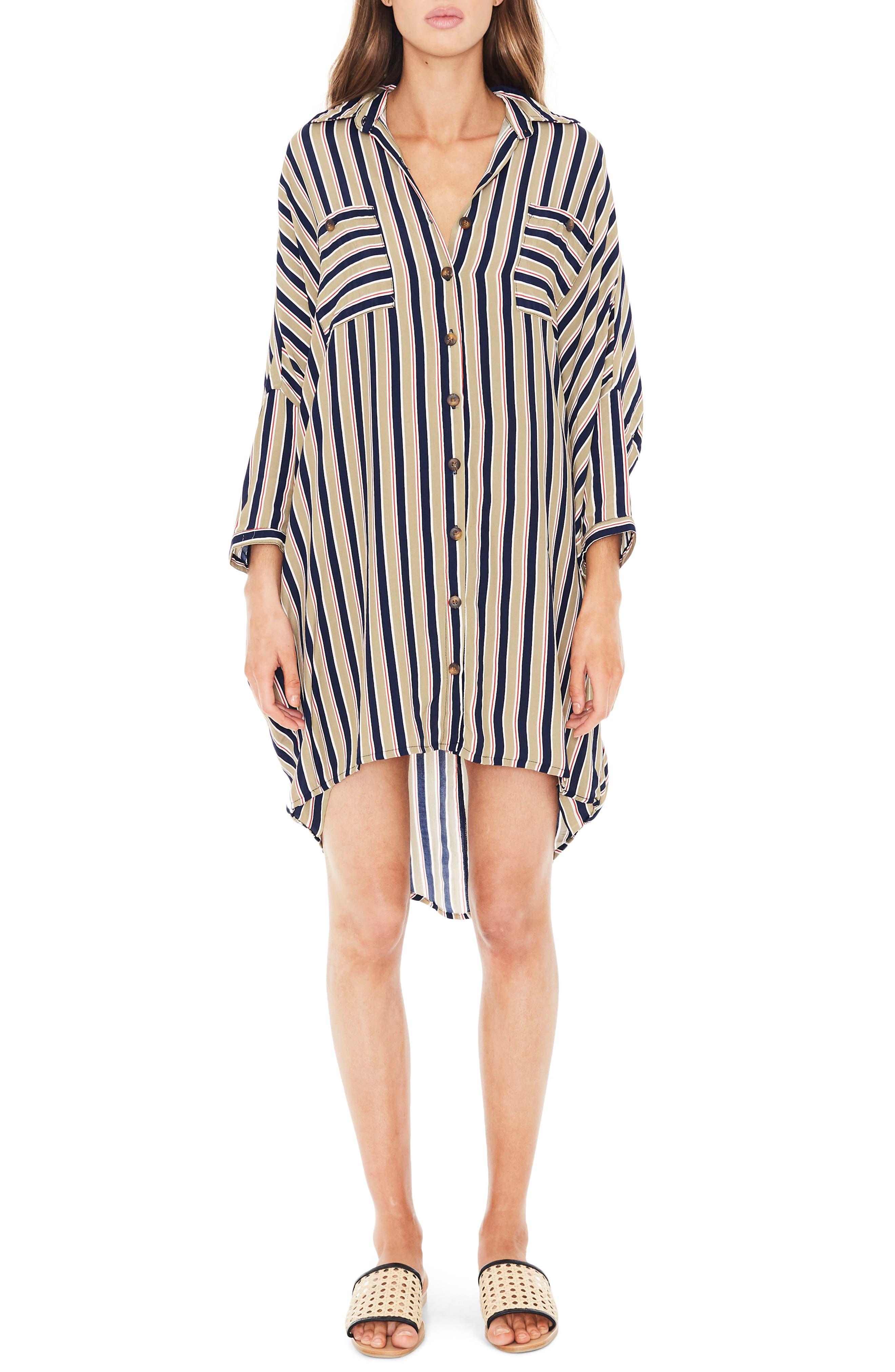 Spencer Stripe Shirtdress,                             Main thumbnail 1, color,                             TRENTINI STRIPE PRINT