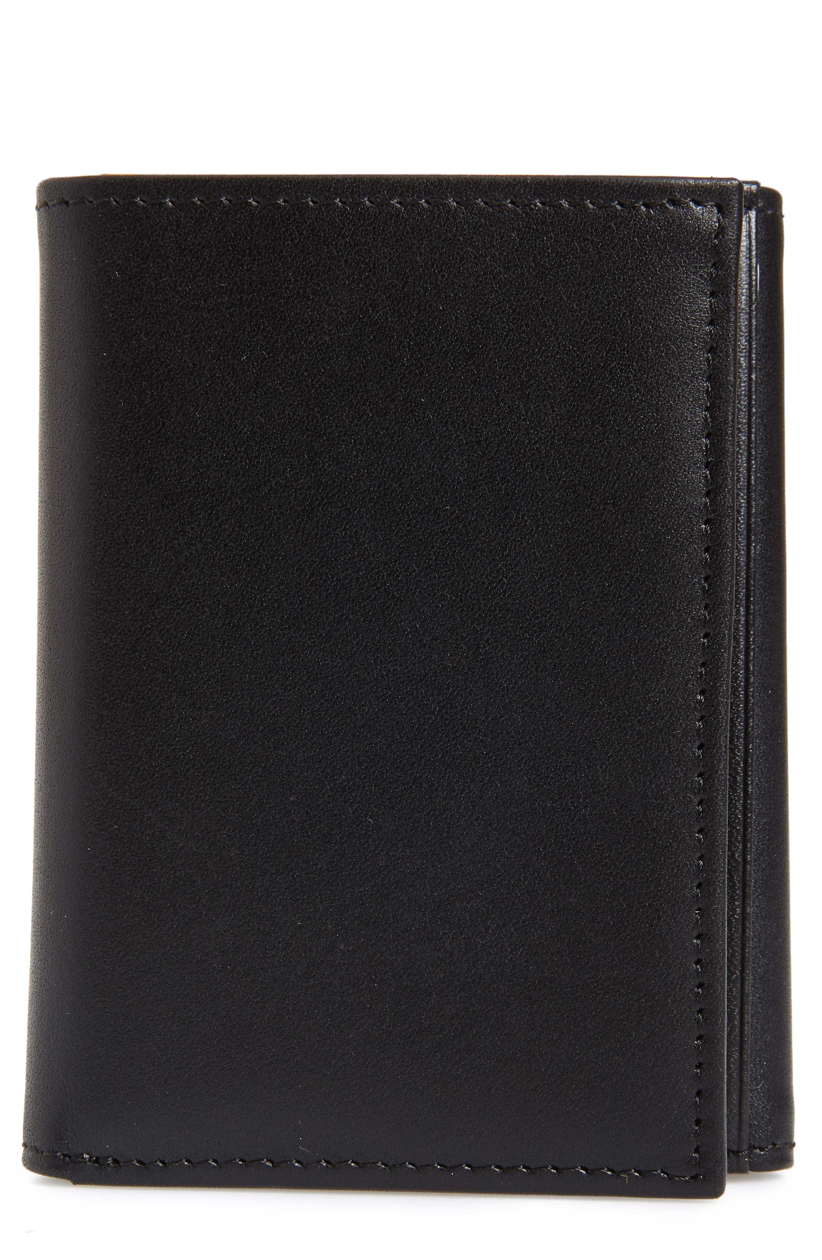 Chelsea Leather Trifold Wallet,                             Main thumbnail 1, color,                             BLACK