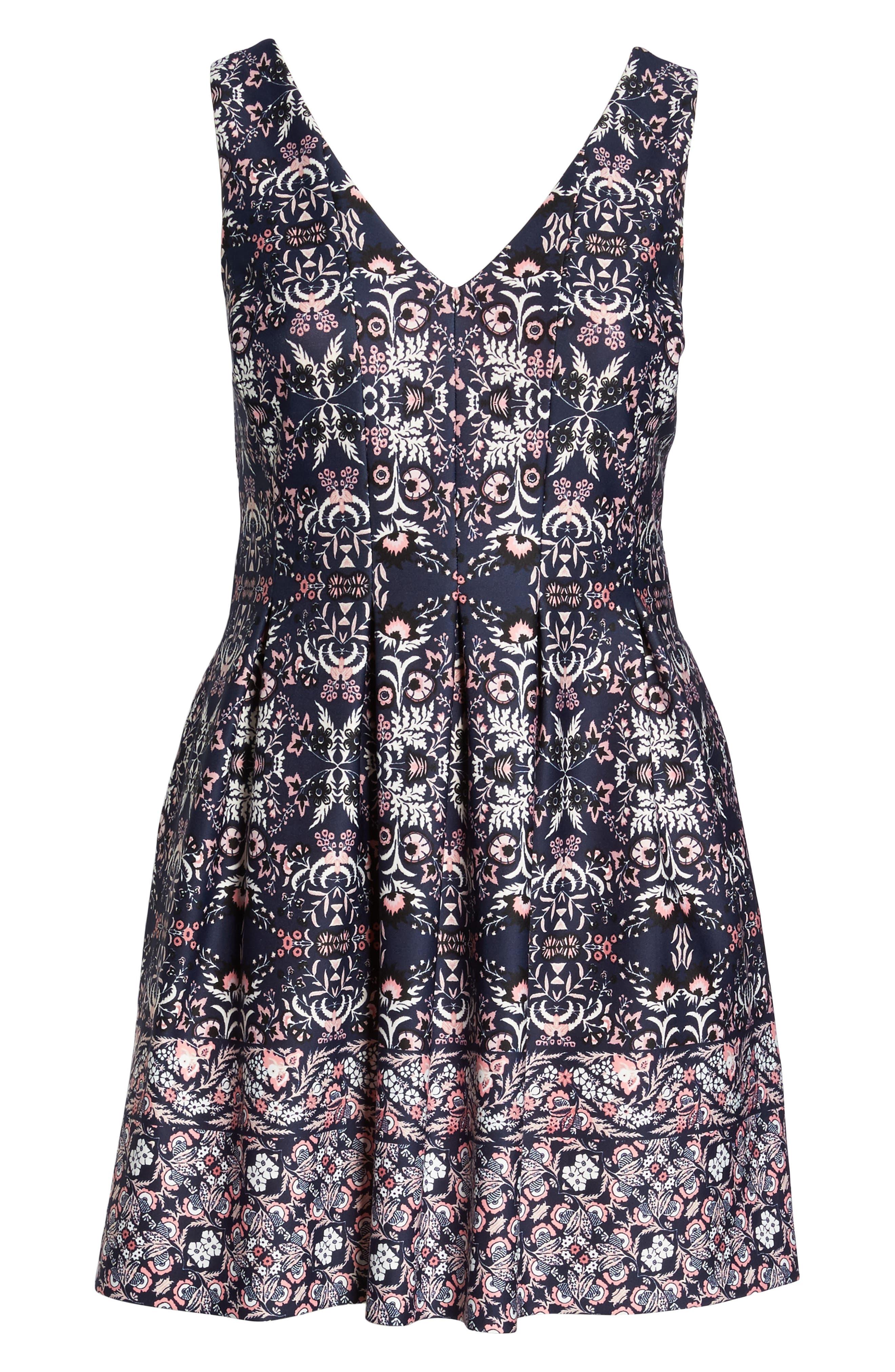 Scuba Fit & Flare Dress,                             Alternate thumbnail 6, color,                             470