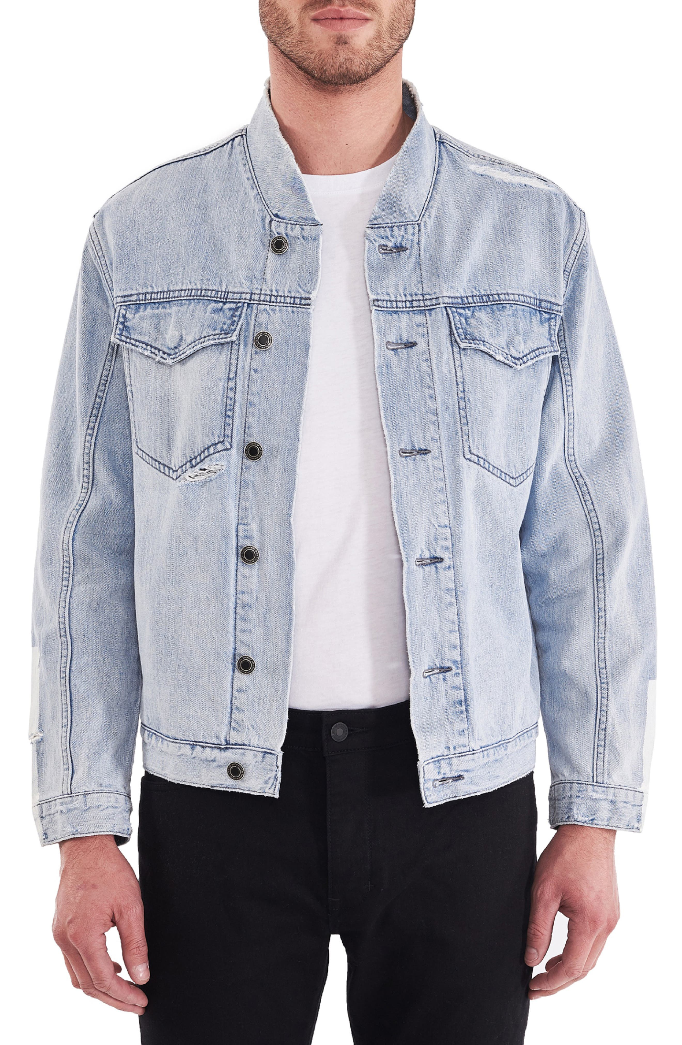 Relaxed Denim Bomber Jacket, Main, color, 410