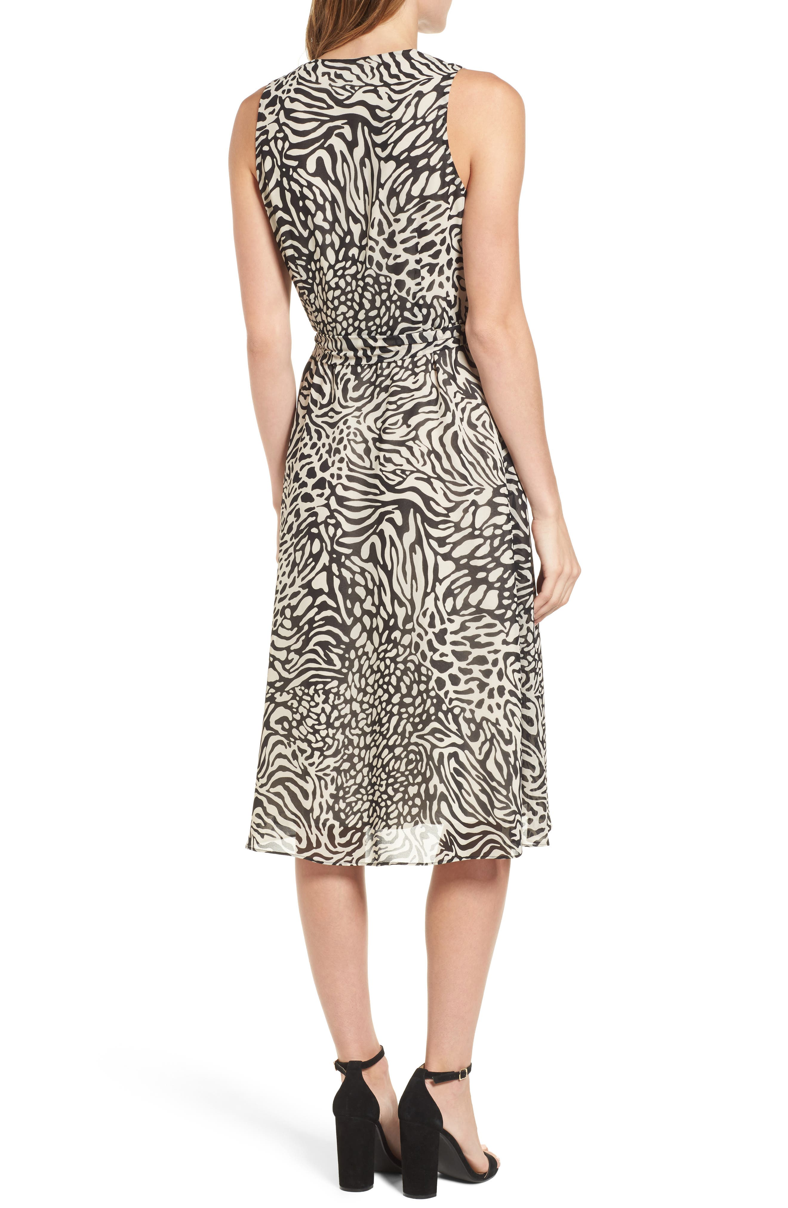 Print A-Line Dress,                             Alternate thumbnail 2, color,