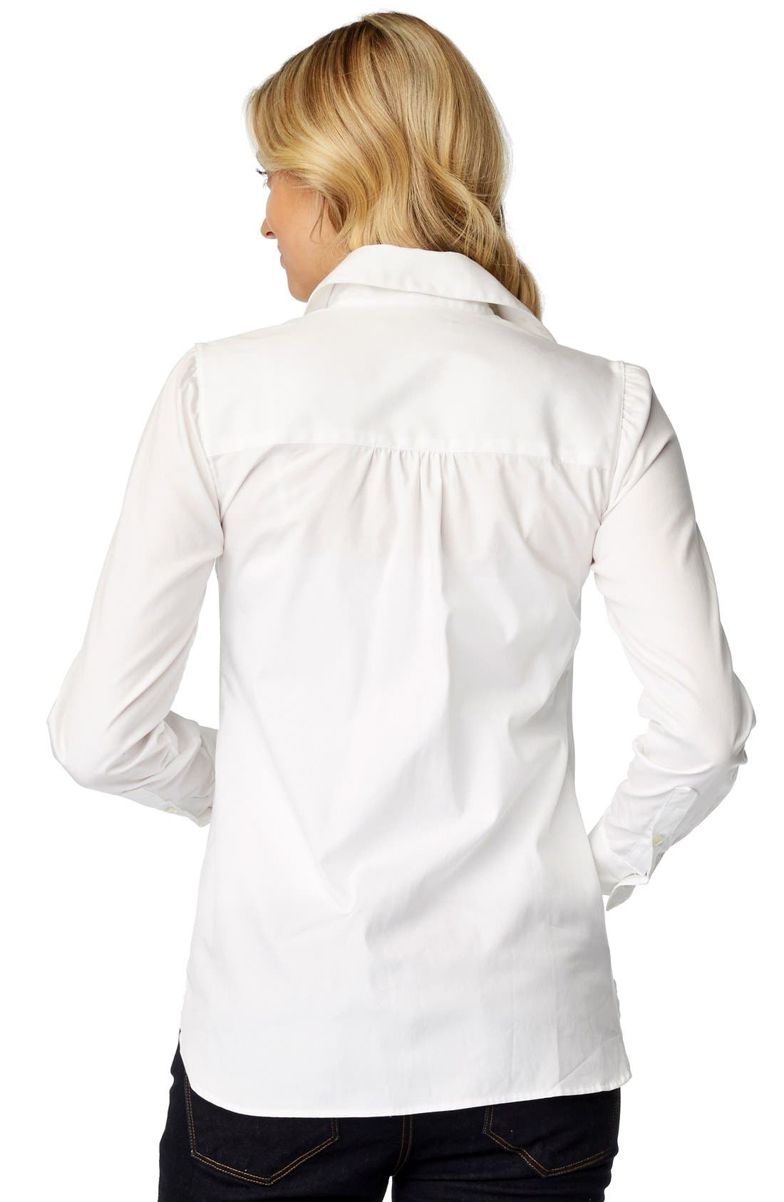 'Classic' Maternity Shirt,                             Alternate thumbnail 2, color,                             WHITE