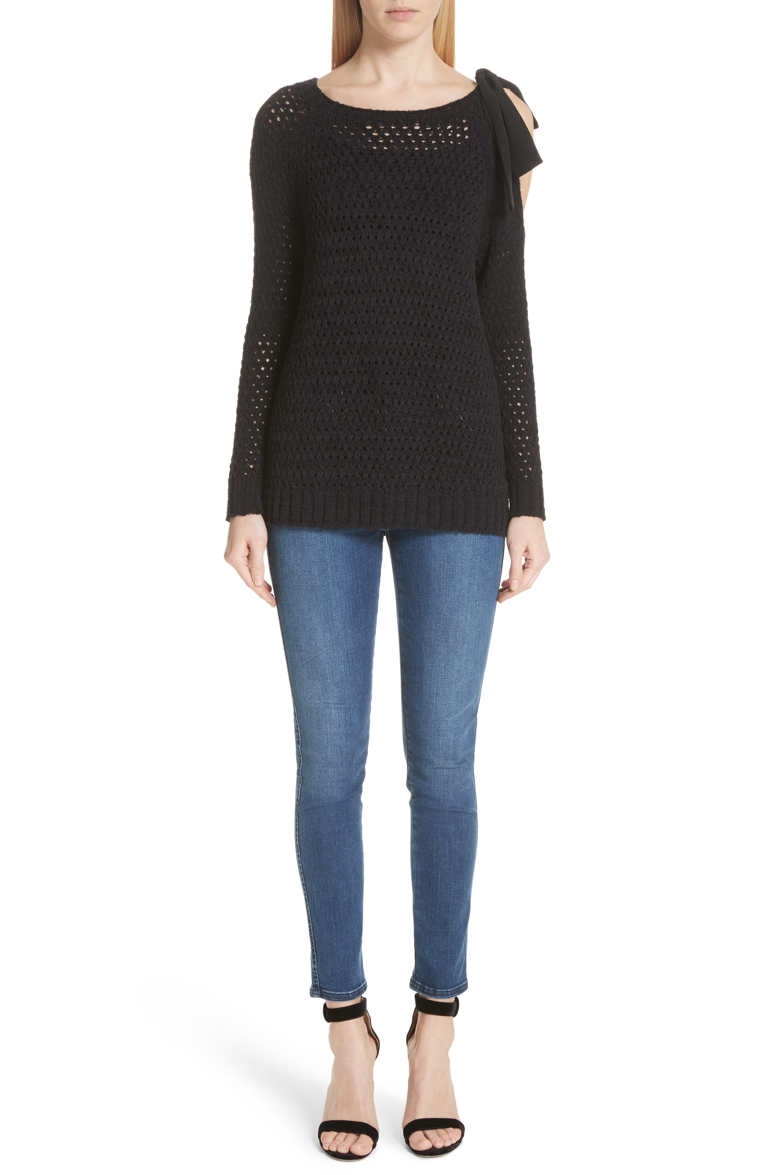 Crisscross Open Stitch Cold Shoulder Sweater,                             Alternate thumbnail 8, color,                             CAVIAR