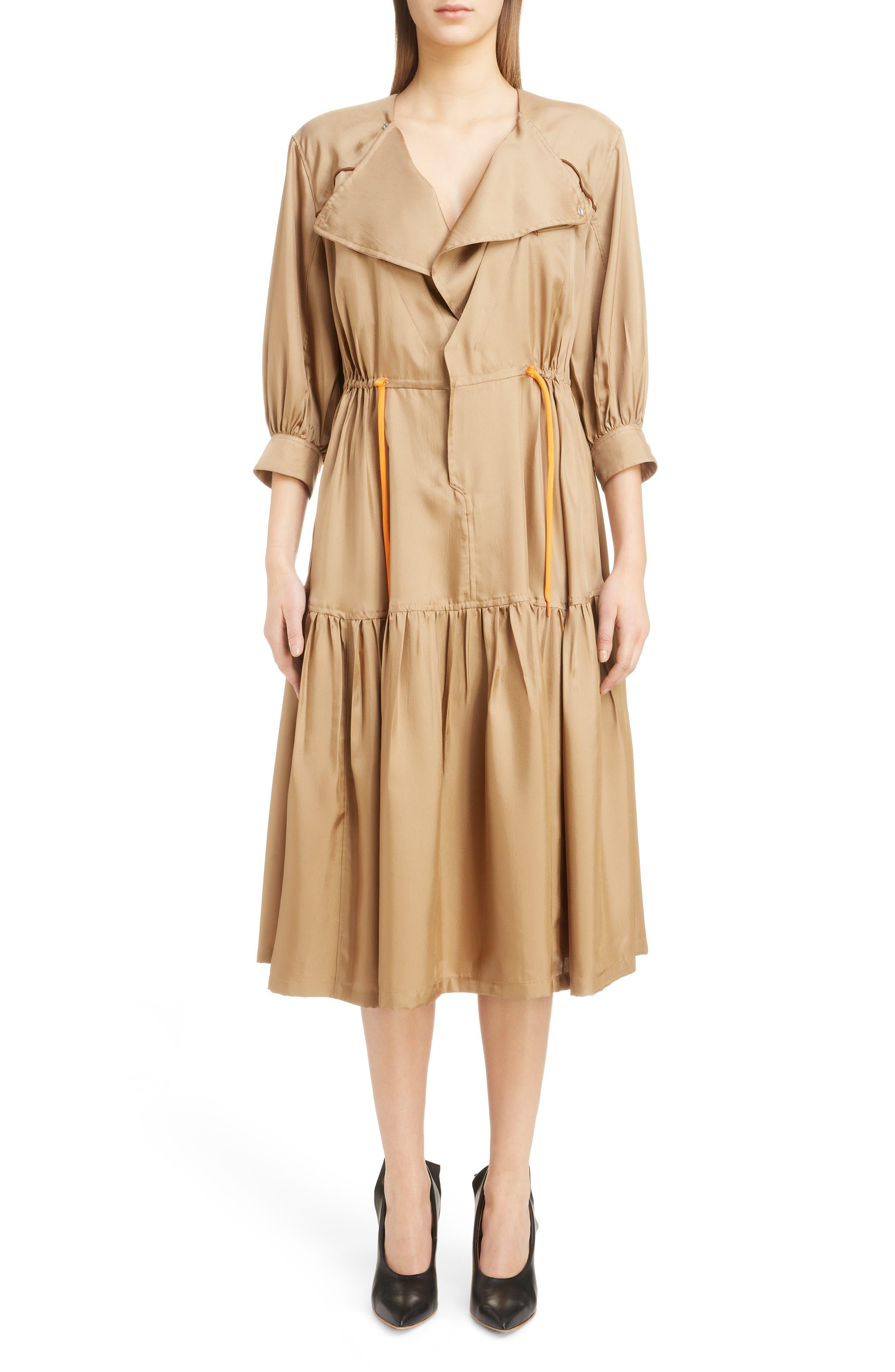 Twill Dress,                         Main,                         color, BEIGE