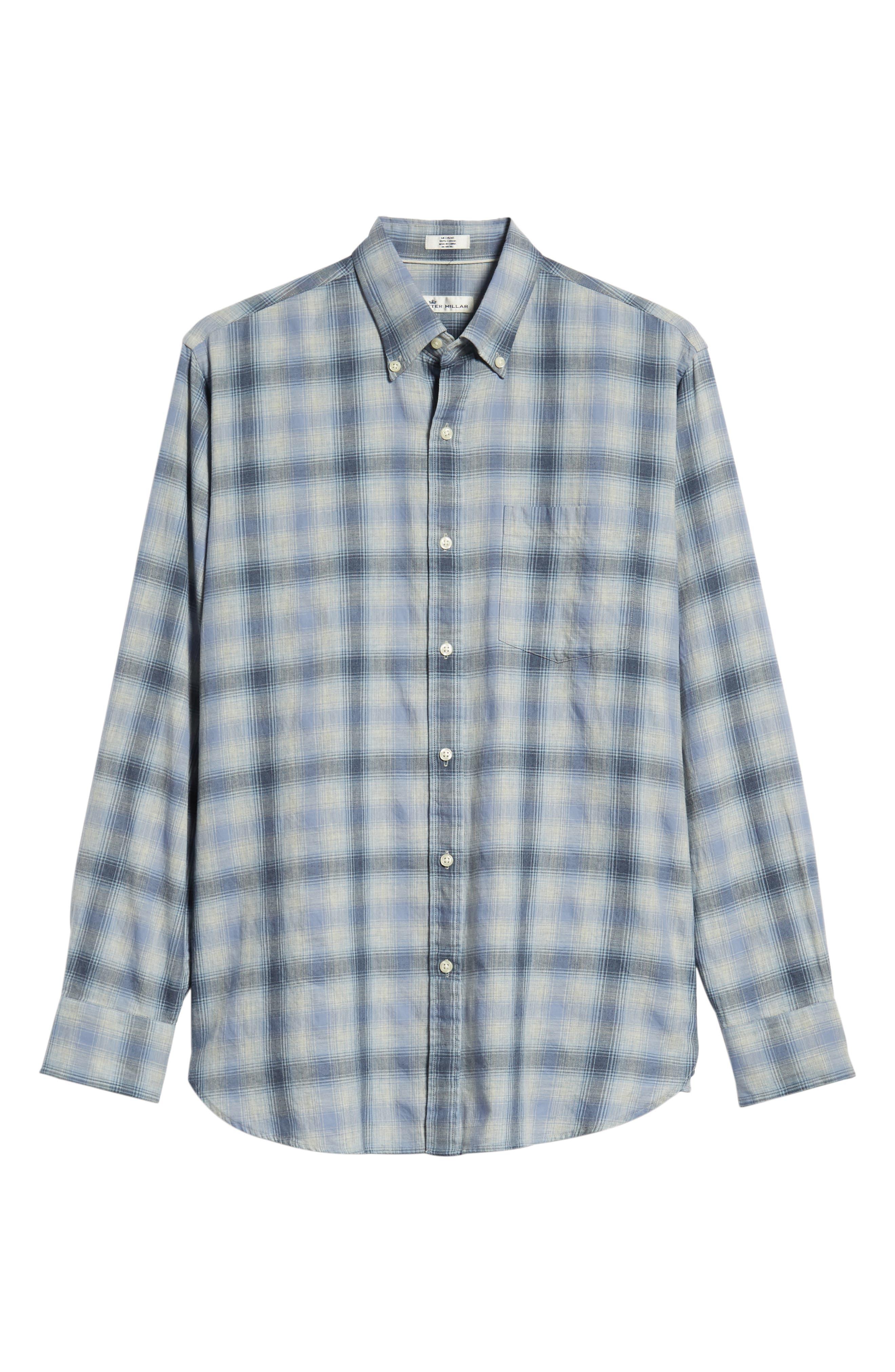 Mountain Fog Plaid Sport Shirt,                             Alternate thumbnail 5, color,                             ATLANTIC BLUE