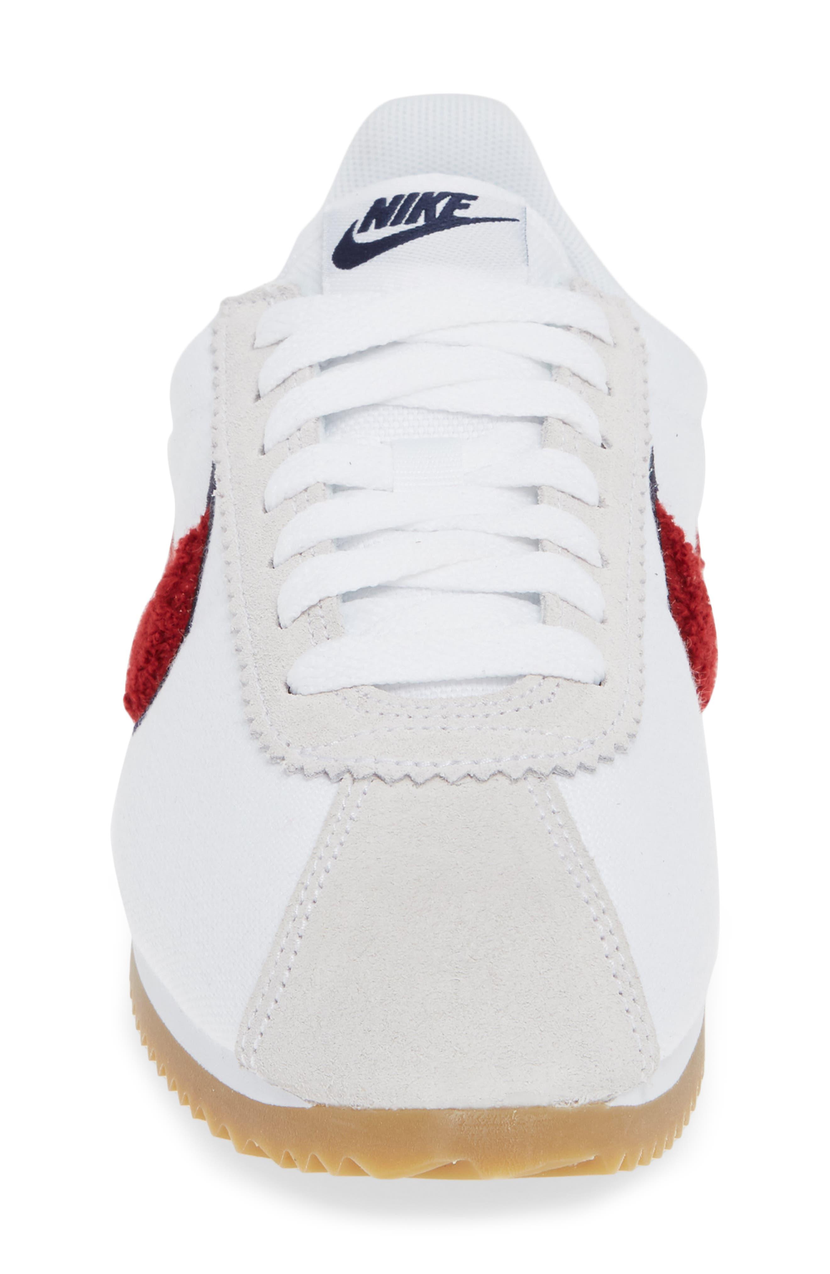 Classic Cortez Premium XLV Sneaker,                             Alternate thumbnail 4, color,                             WHITE/ RED CRUSH/ LIGHT BROWN