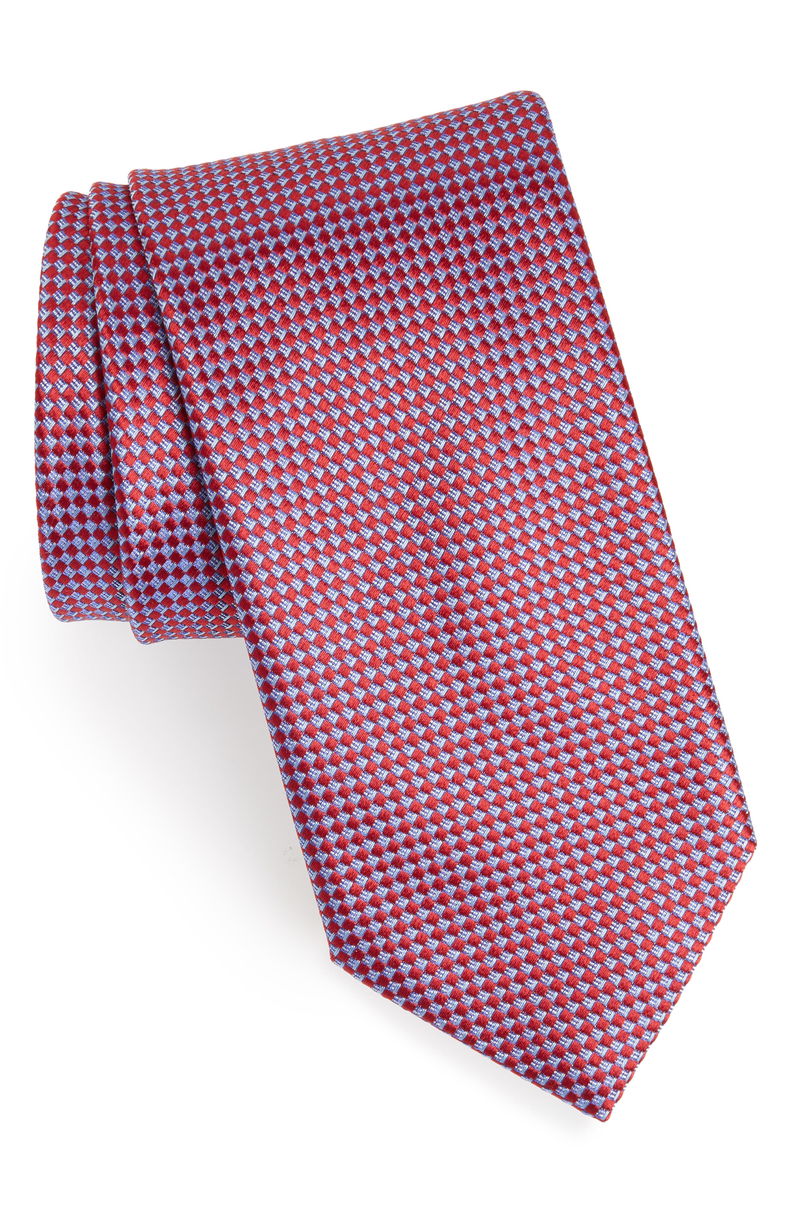 Geometric Silk Tie,                         Main,                         color, RED/ BLUE