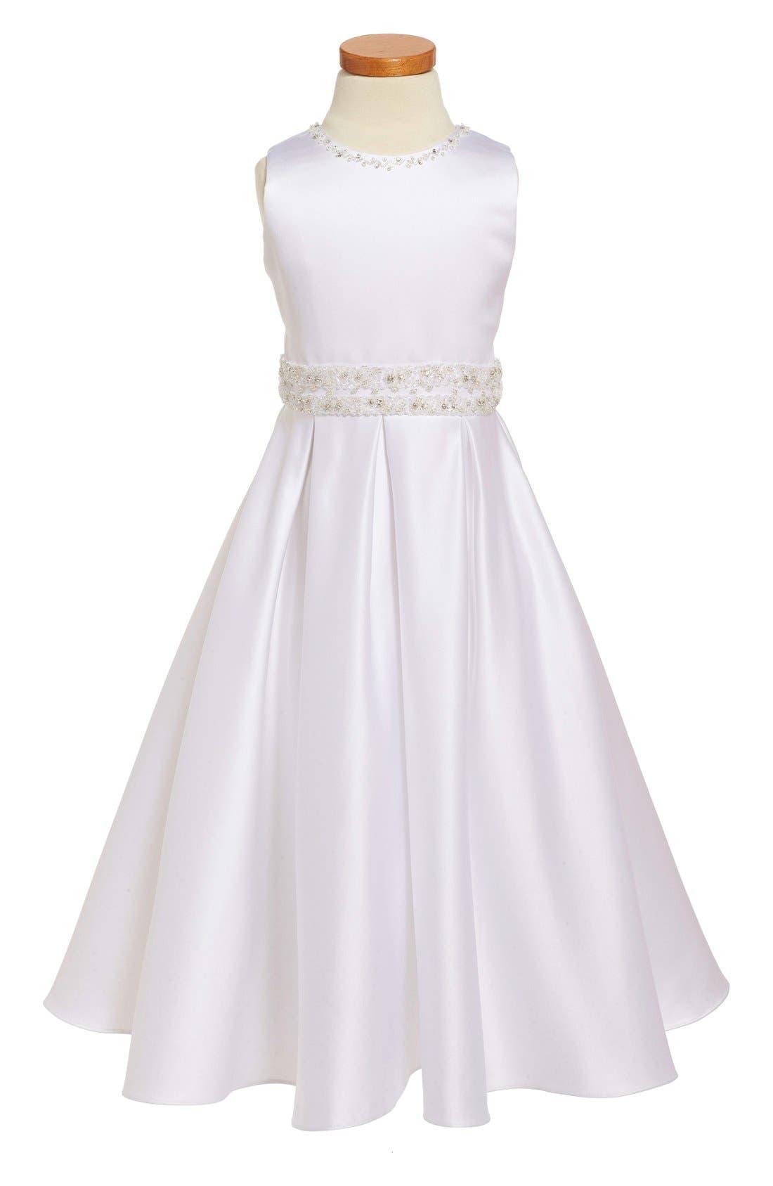 JOAN CALABRESE FOR MON CHERI,                             Satin First Communion Dress,                             Main thumbnail 1, color,                             100