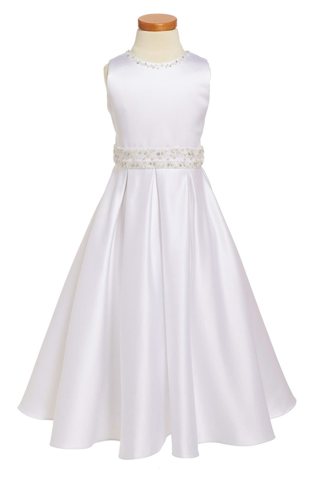 JOAN CALABRESE FOR MON CHERI Satin First Communion Dress, Main, color, 100
