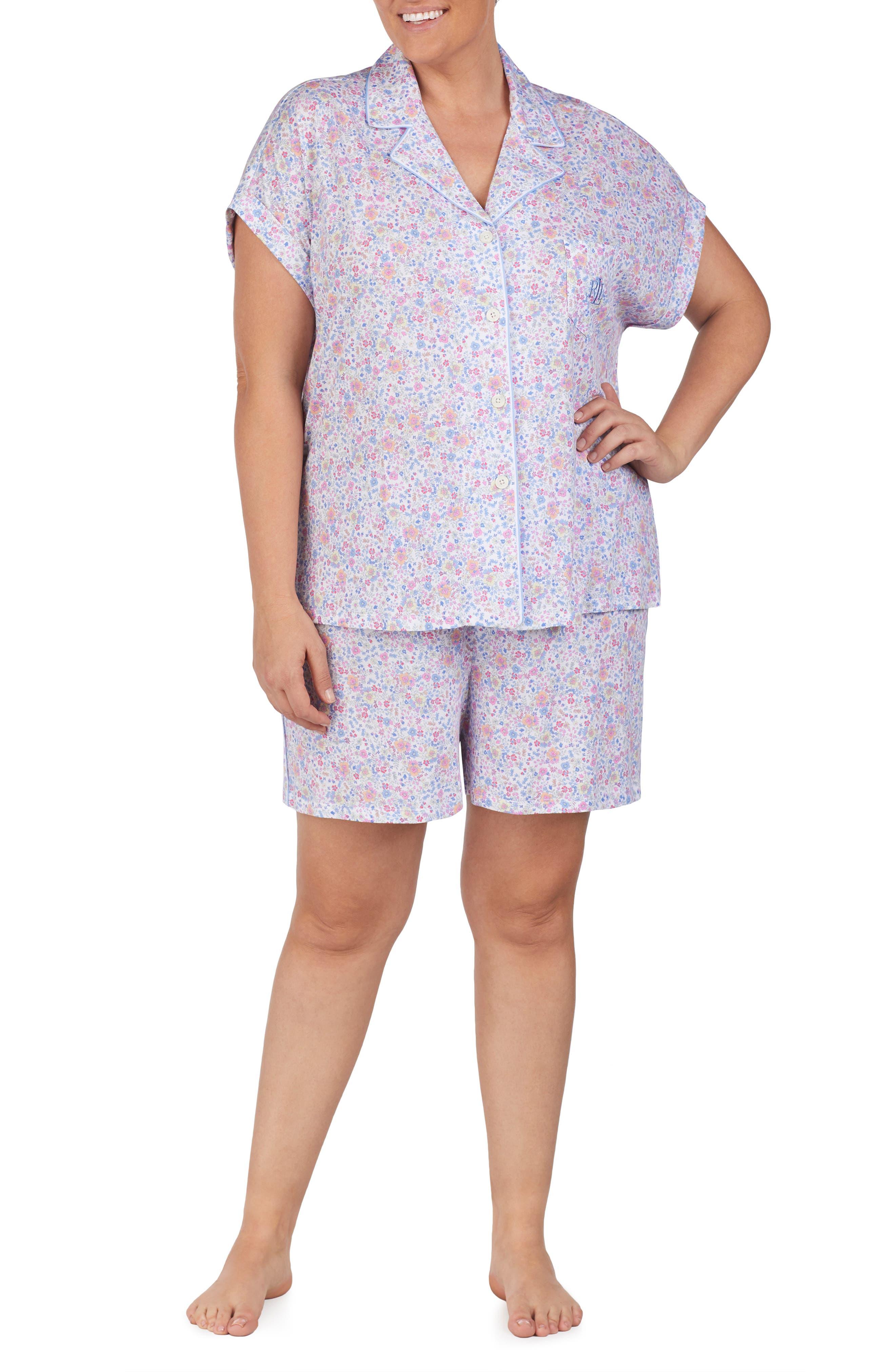 Plus Size Lauren Ralph Lauren Short Pajamas, Blue