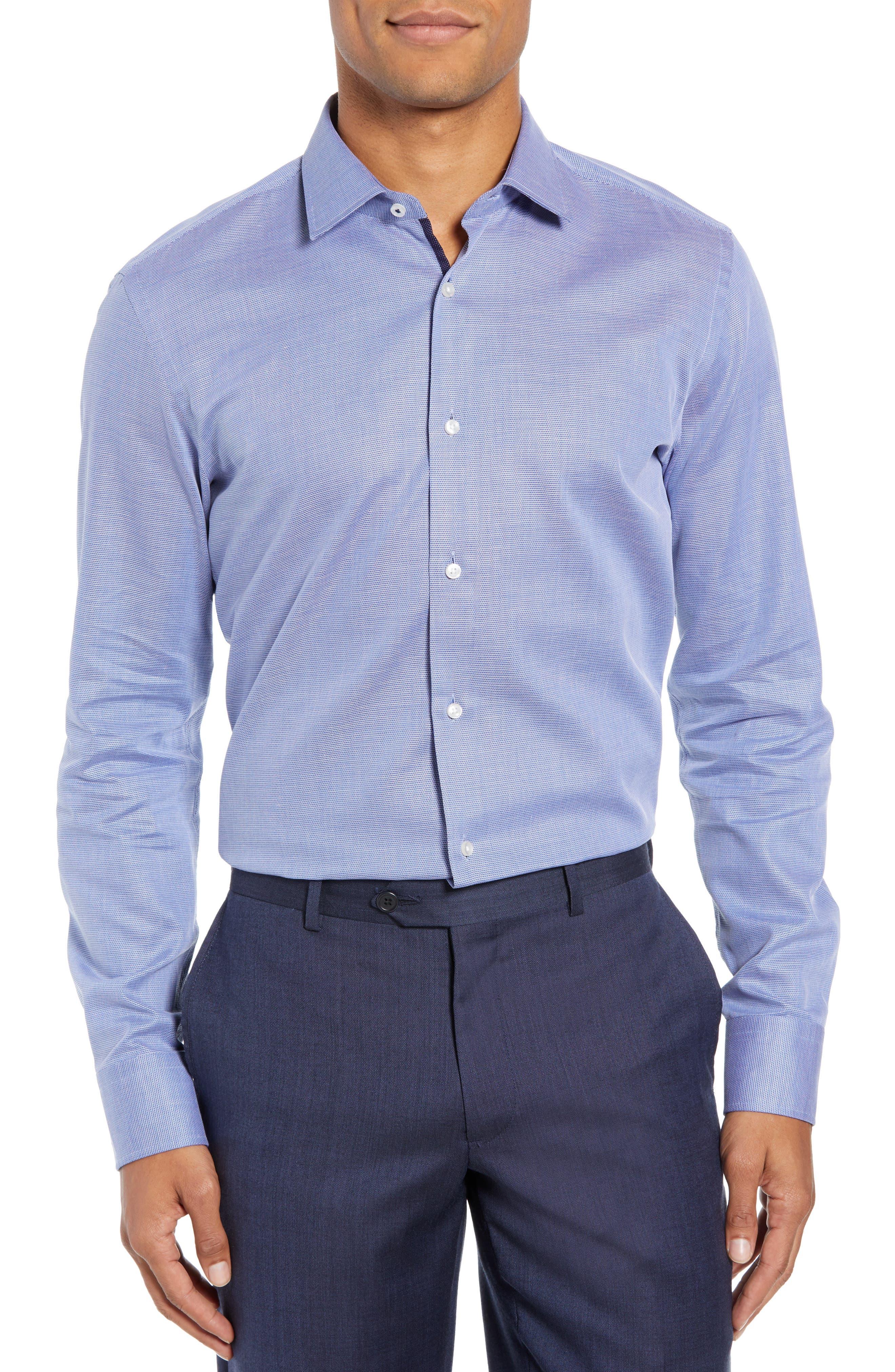 Jesse Slim Fit Solid Dress Shirt,                         Main,                         color, NAVY