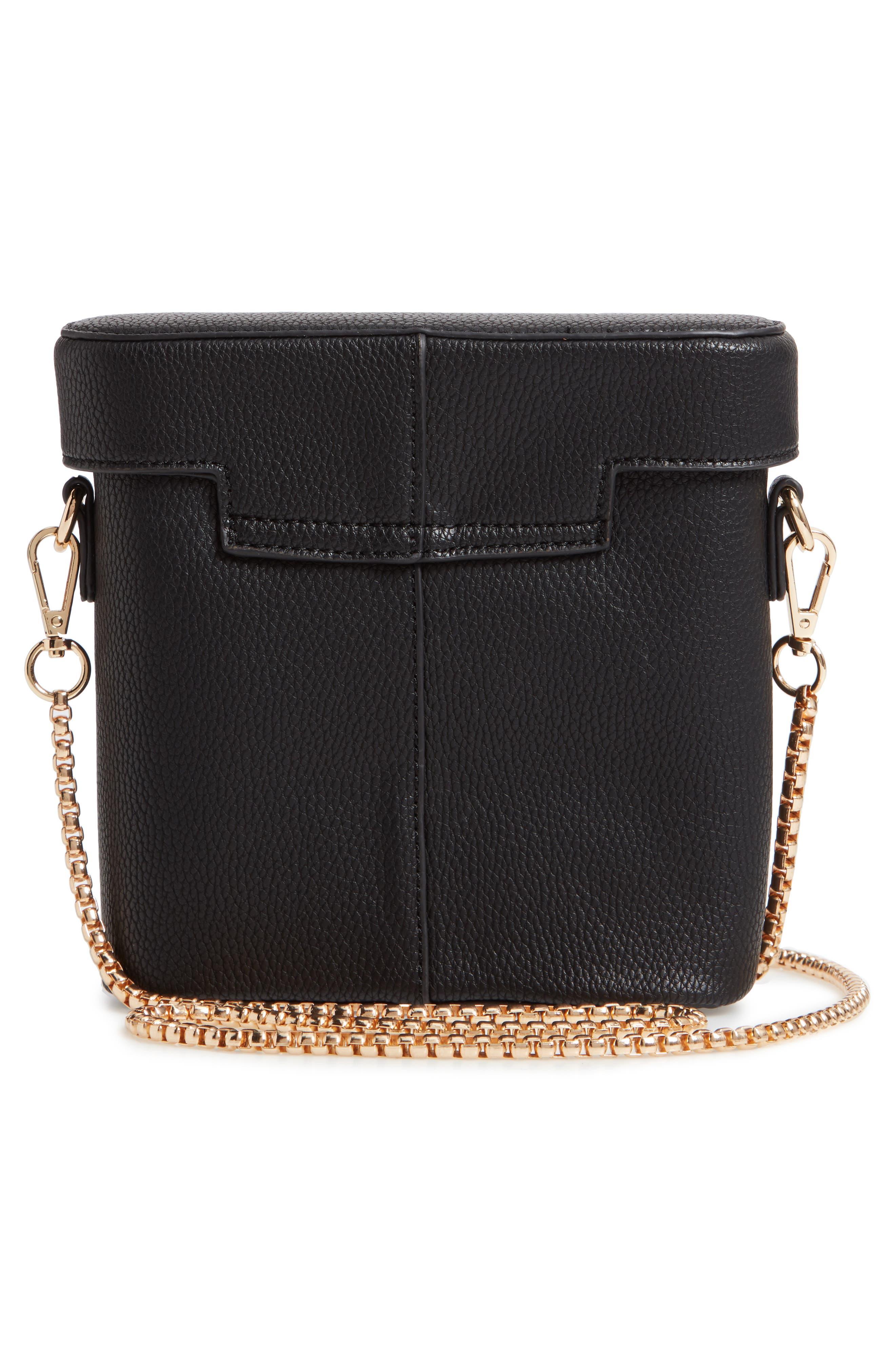 Lindsey Faux Leather Crossbody Bag,                             Alternate thumbnail 3, color,                             BLACK