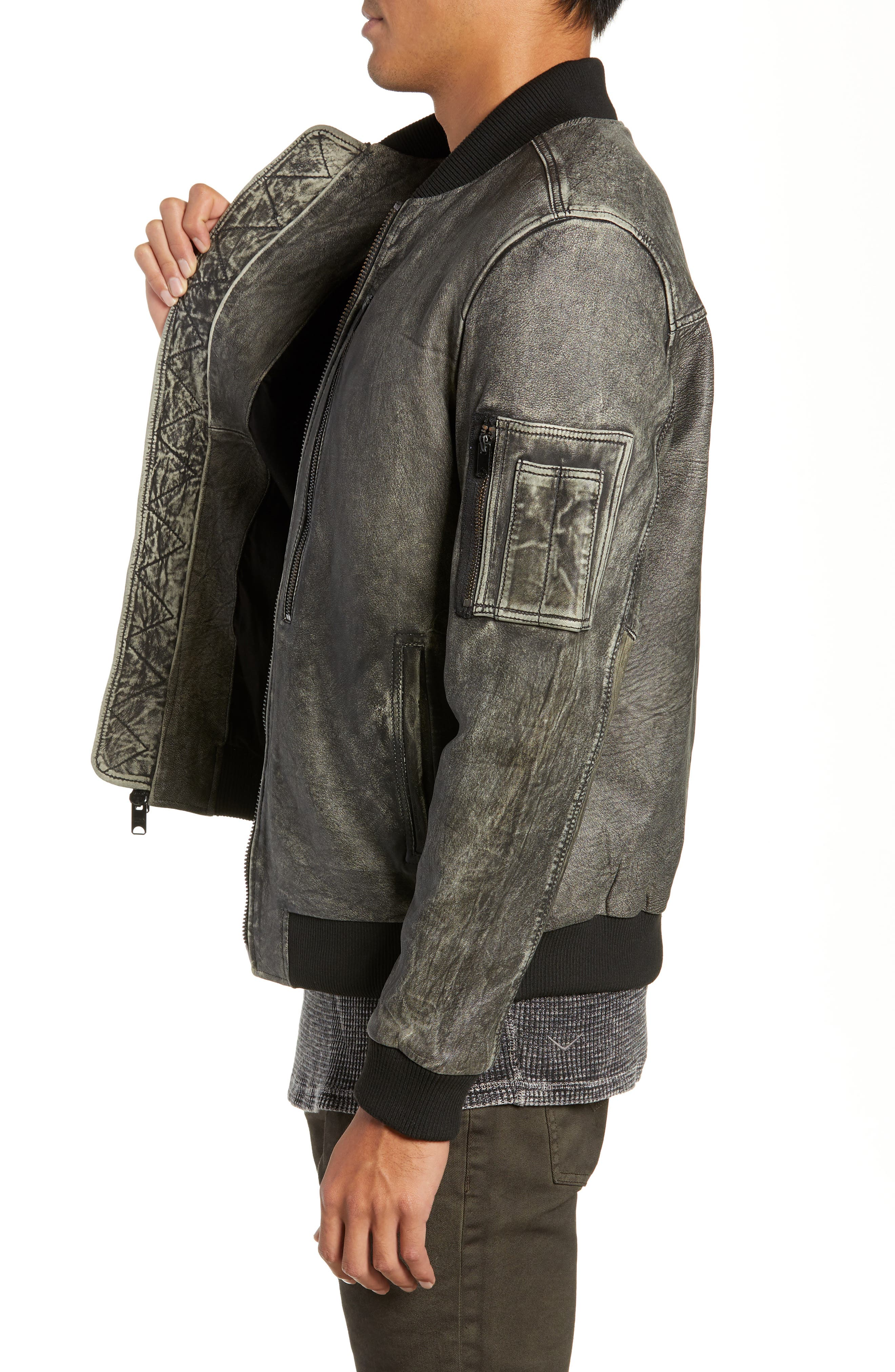Hudson Leather Bomber Jacket,                             Alternate thumbnail 3, color,                             063