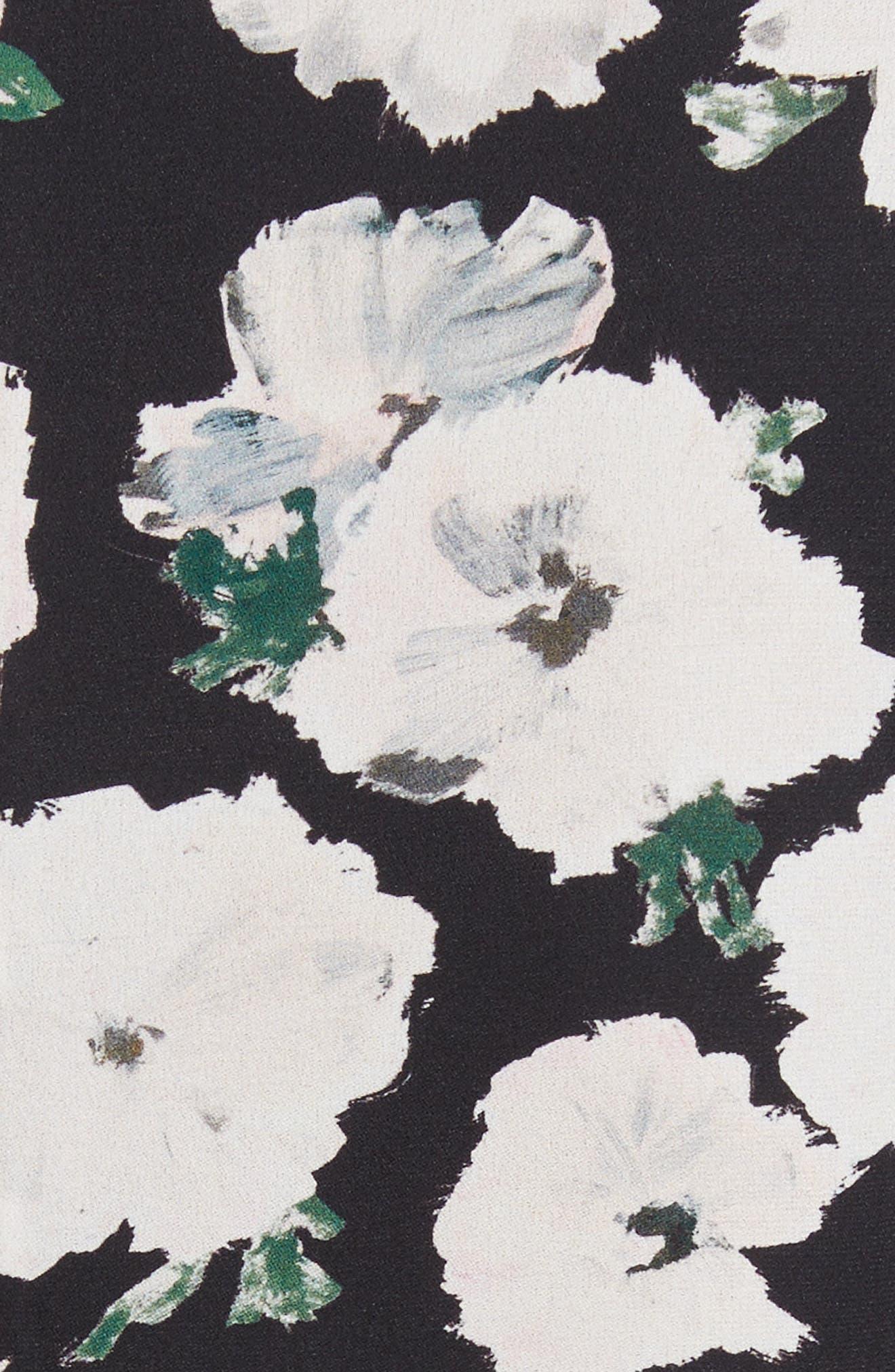 Print Silk Midi Dress,                             Alternate thumbnail 5, color,                             001