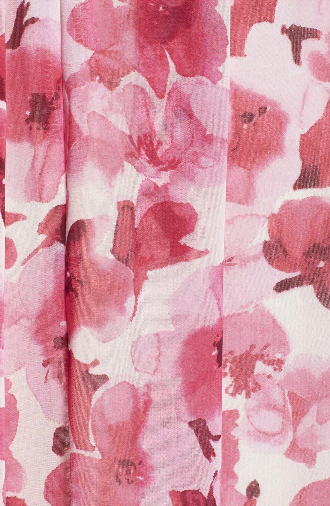 Print Pleated Chiffon Maxi Dress,                             Alternate thumbnail 4, color,                             660