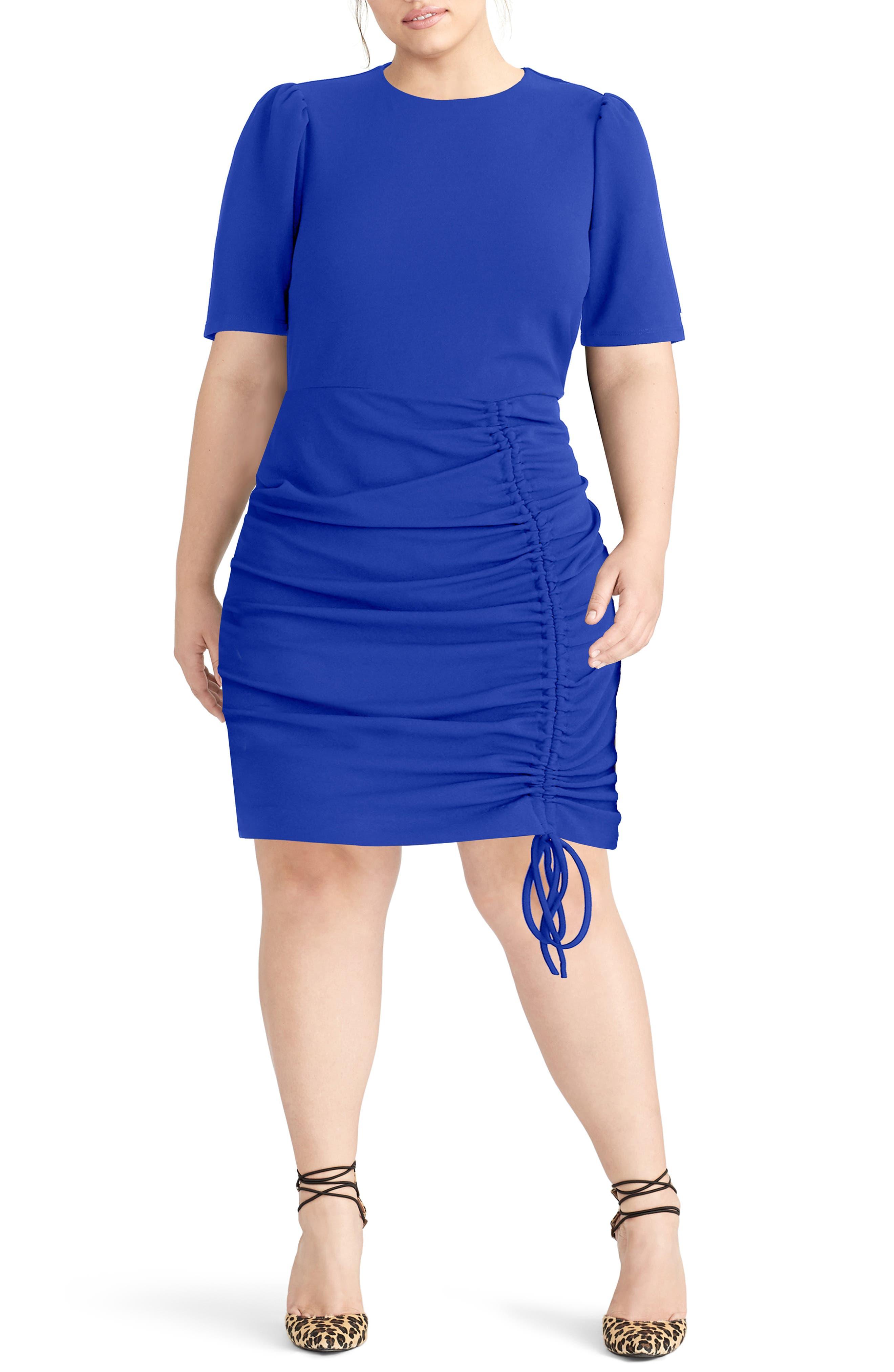 Plus Size Rachel Rachel Roy Scuba Crepe Back Minidress, Blue